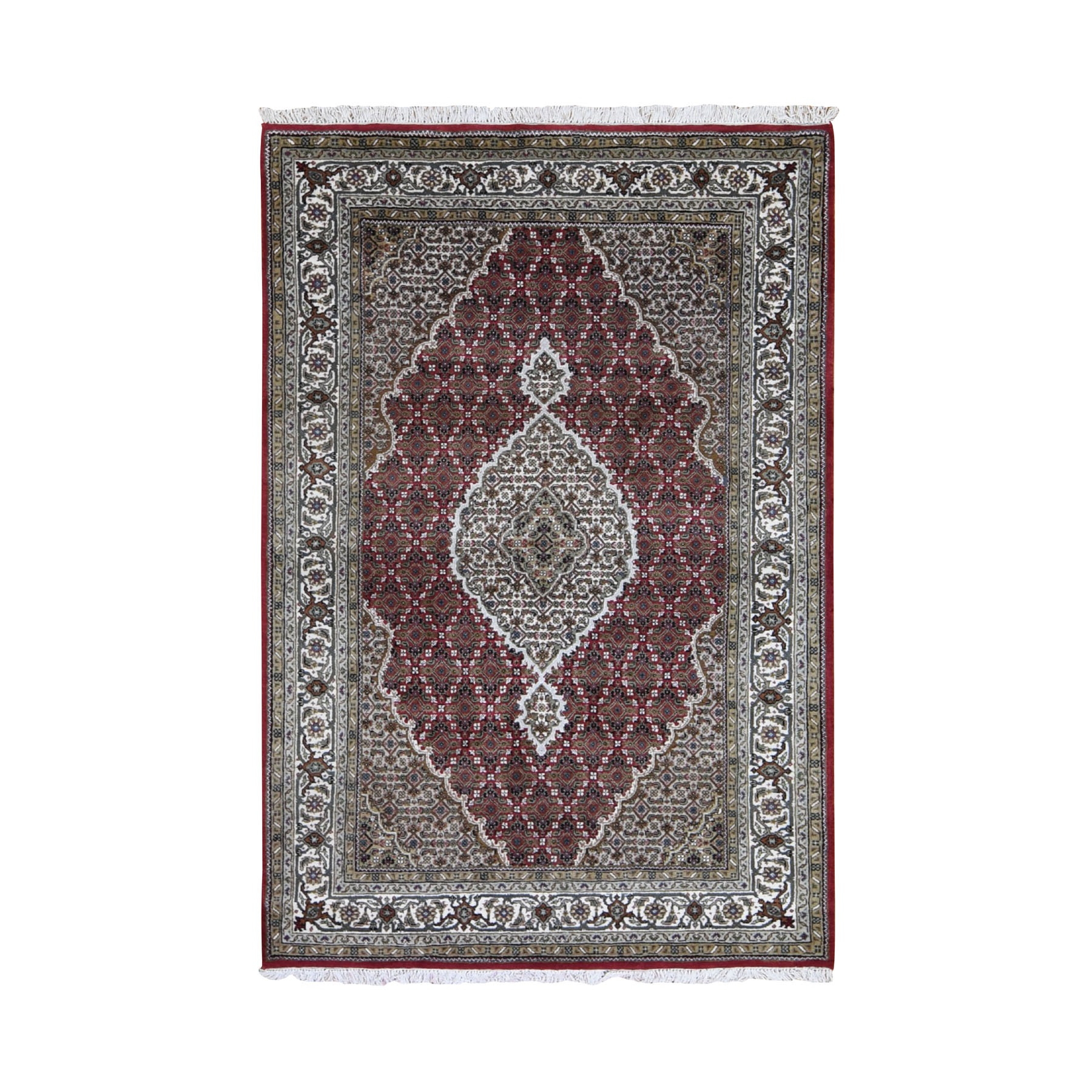 "4'8""X6'8"" Red Tabriz Mahi Wool And Silk Hand Knotted Oriental Rug moad9d9d"