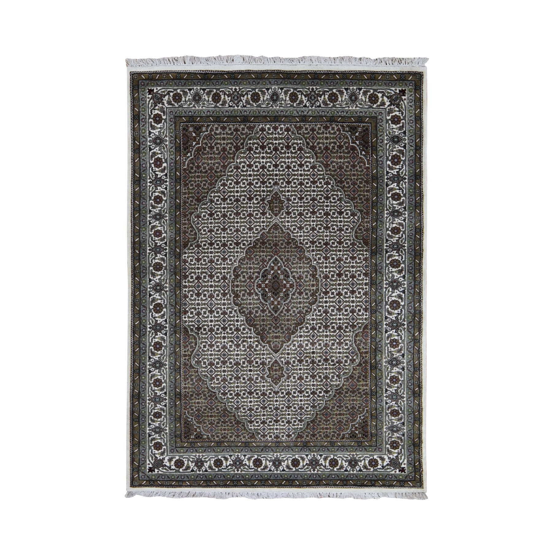 4-7 x6-9  Ivory Wool And Silk Tabriz Mahi Design Hand Knotted Oriental Rug
