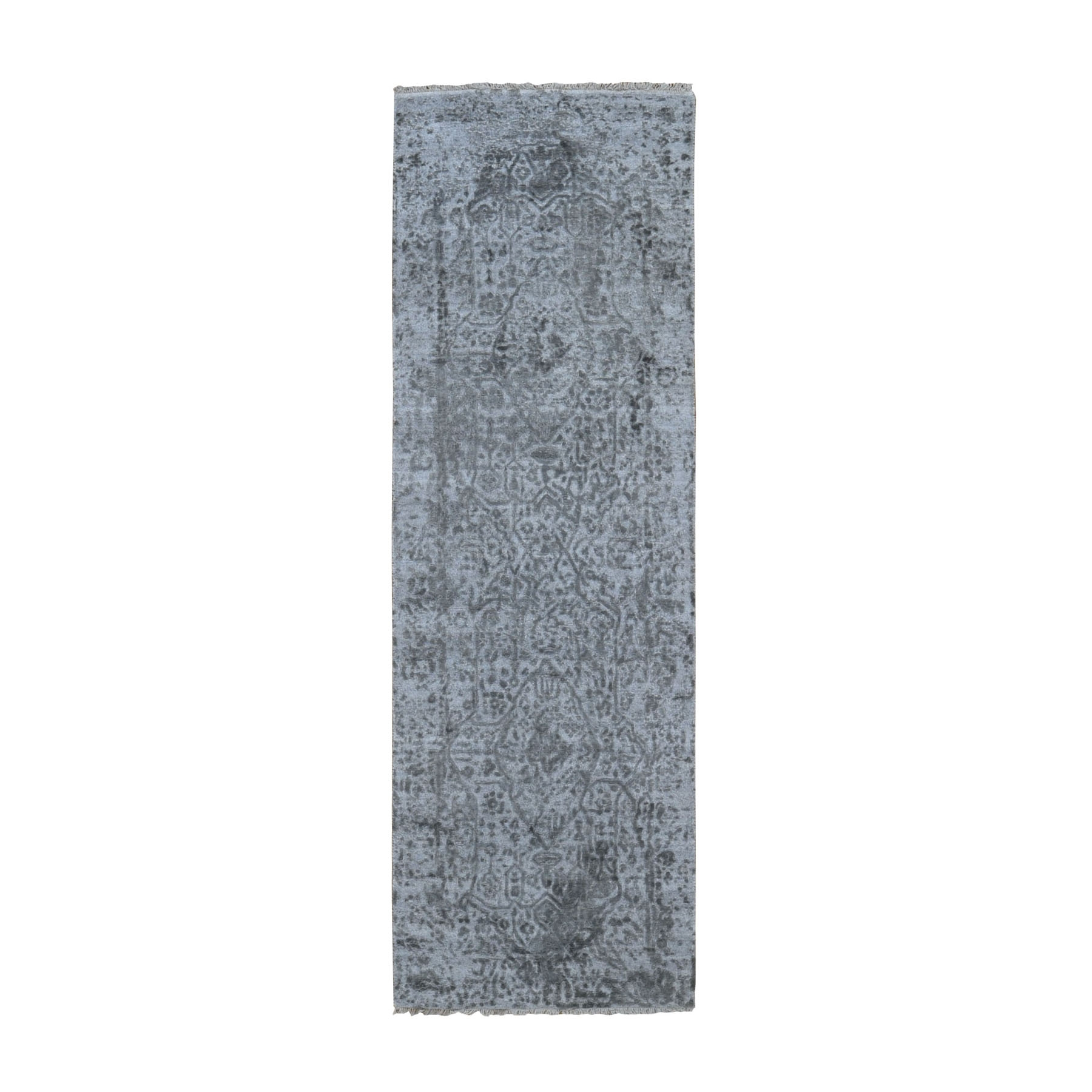 "2'7""X8' Silver-Dark Gray Erased Persian Design Runner Wool And Pure Silk Hand Knotted Oriental Rug moad9d96"