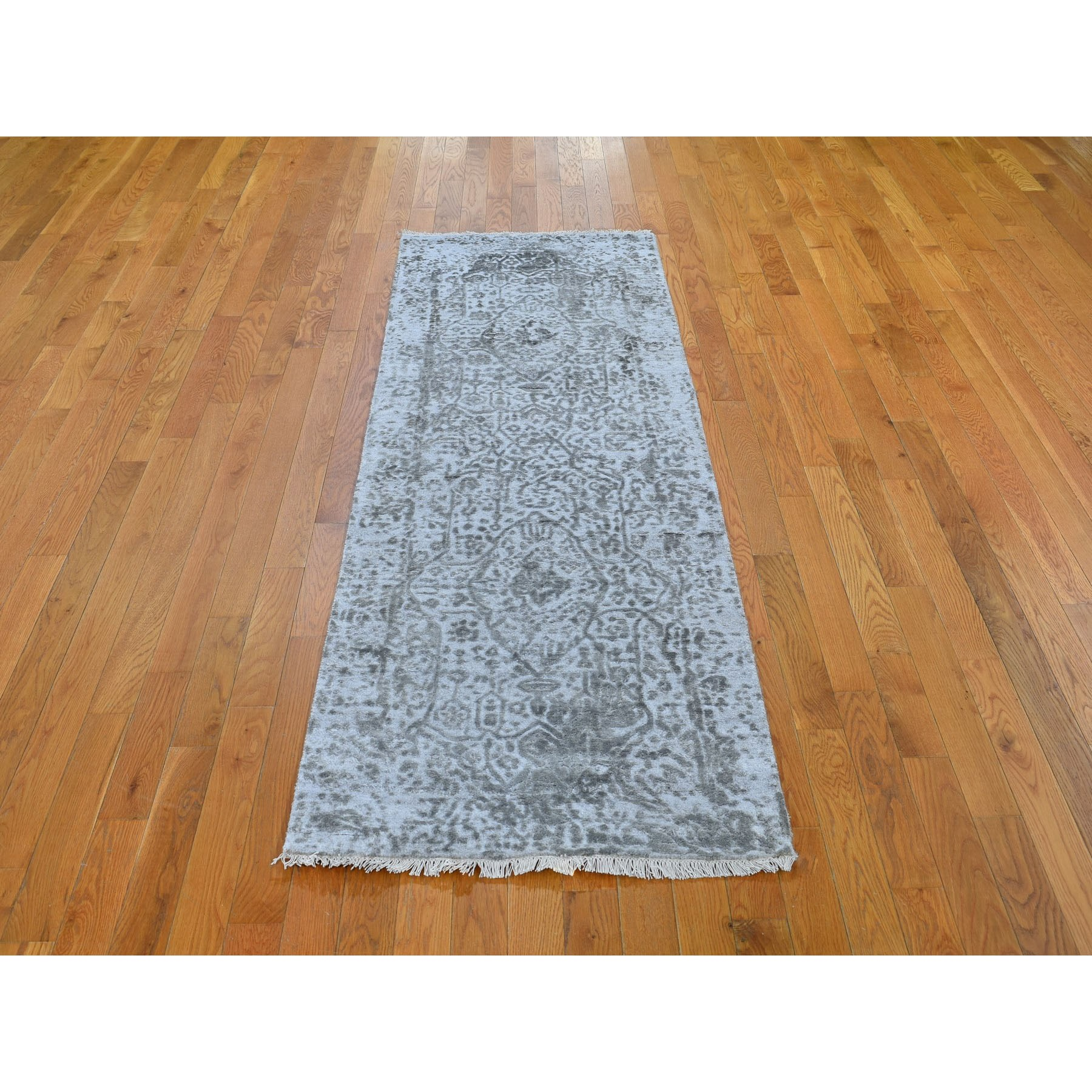 2-7 x8- Silver-Dark Gray Erased Persian Design Runner Wool and Pure Silk Hand Knotted Oriental Rug