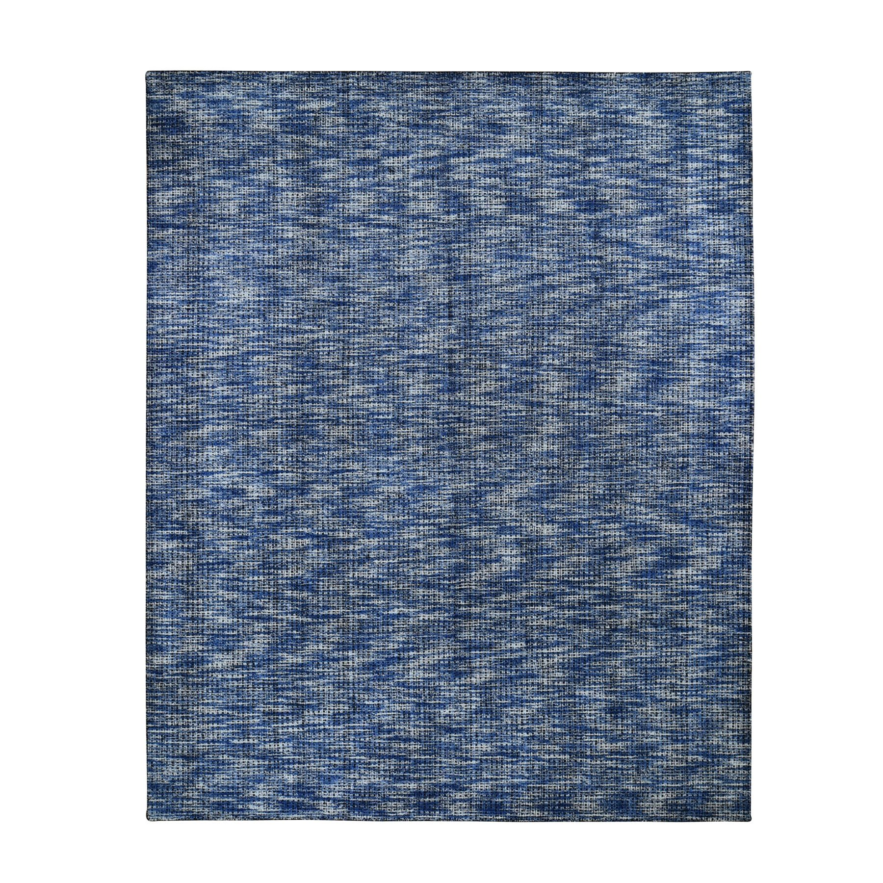 "8'2""X10'  Fence Design With Blue Wool And Art Silk Tone On Tone Hand Loomed Oriental Rug moad9d98"