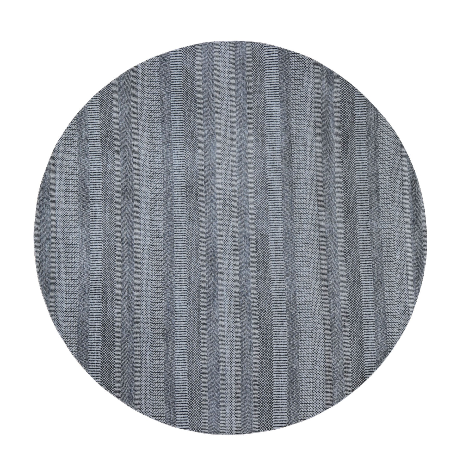 """7'10""""X7'10"""" Round Gray Grass Design Wool And Silk Hand Knotted Oriental Rug moad9e0c"""