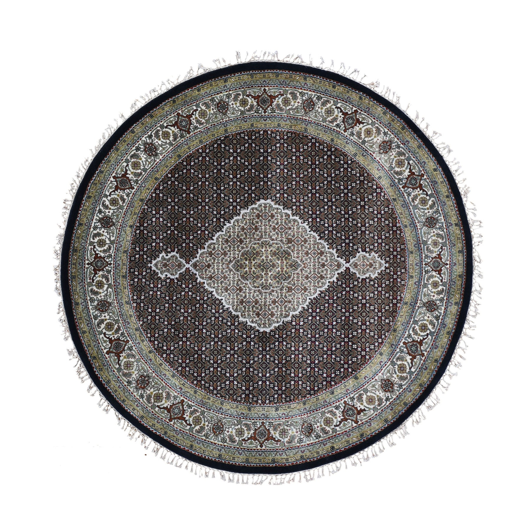 """6'5""""X6'5"""" Round Black Tabriz Mahi Wool And Silk Hand Knotted Oriental Rug moad9e0d"""