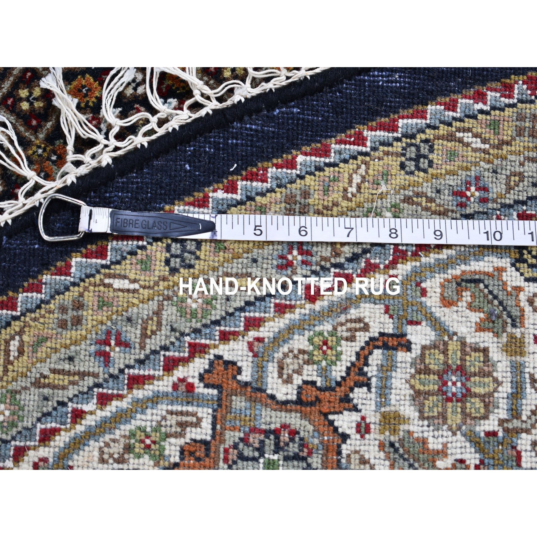 6-5 x6-5  Round Black Tabriz Mahi Wool And Silk Hand Knotted Oriental Rug