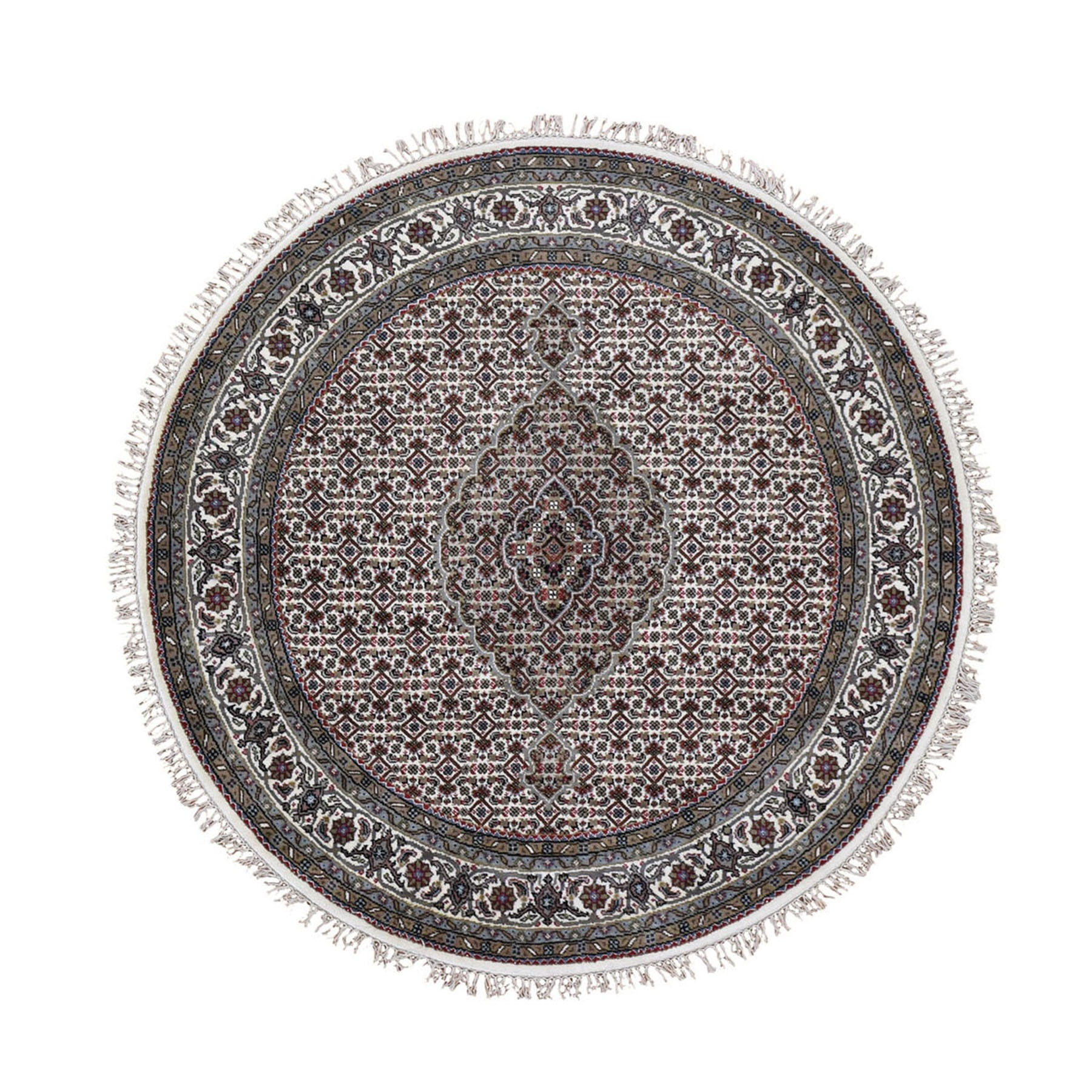 """6'5""""X6'5"""" Ivory Round Wool And Silk Tabriz Mahi Design Hand Knotted Oriental Rug moad9e0e"""