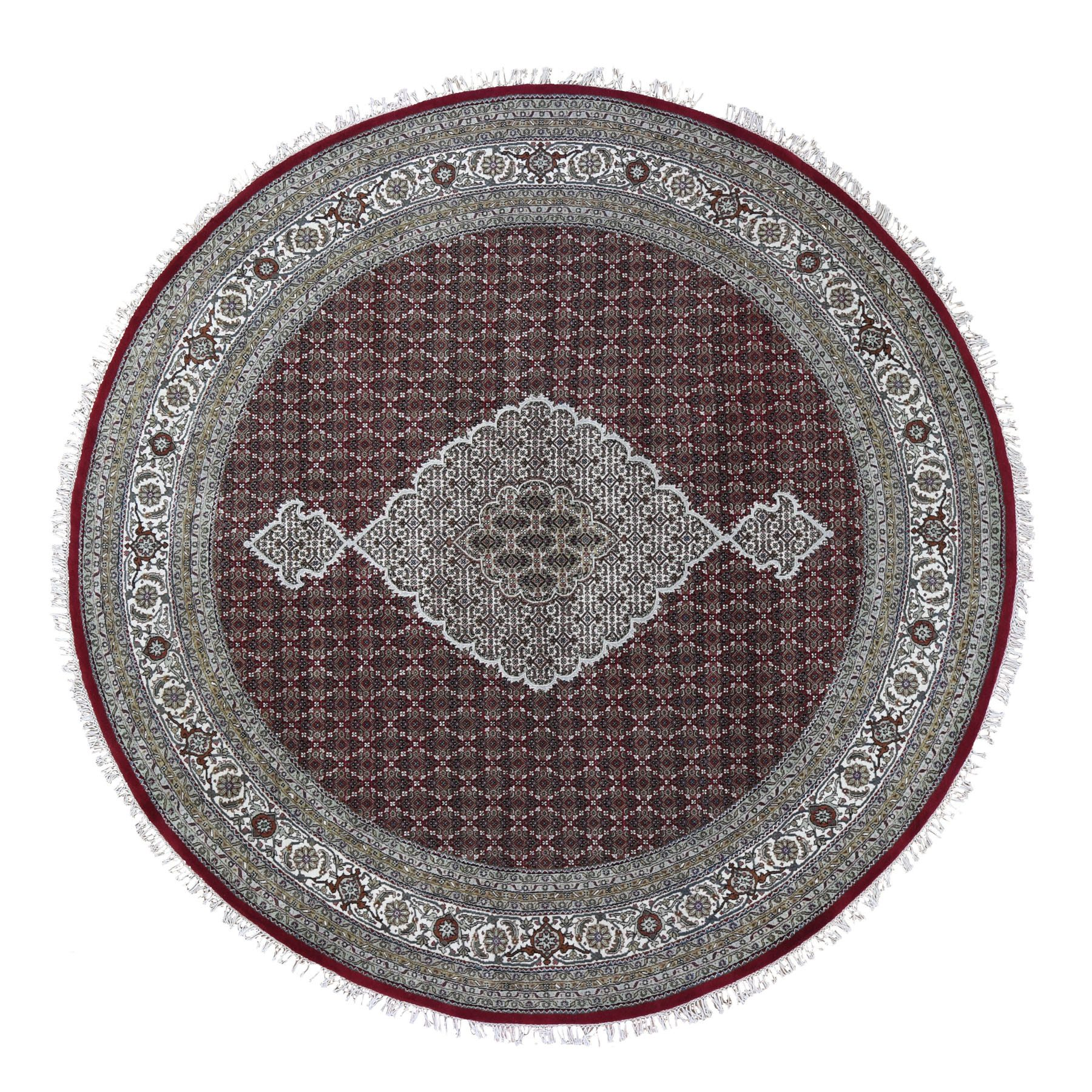 10'X10' Round Red Tabriz Mahi Wool And Silk Hand Knotted Oriental Rug moad9e06