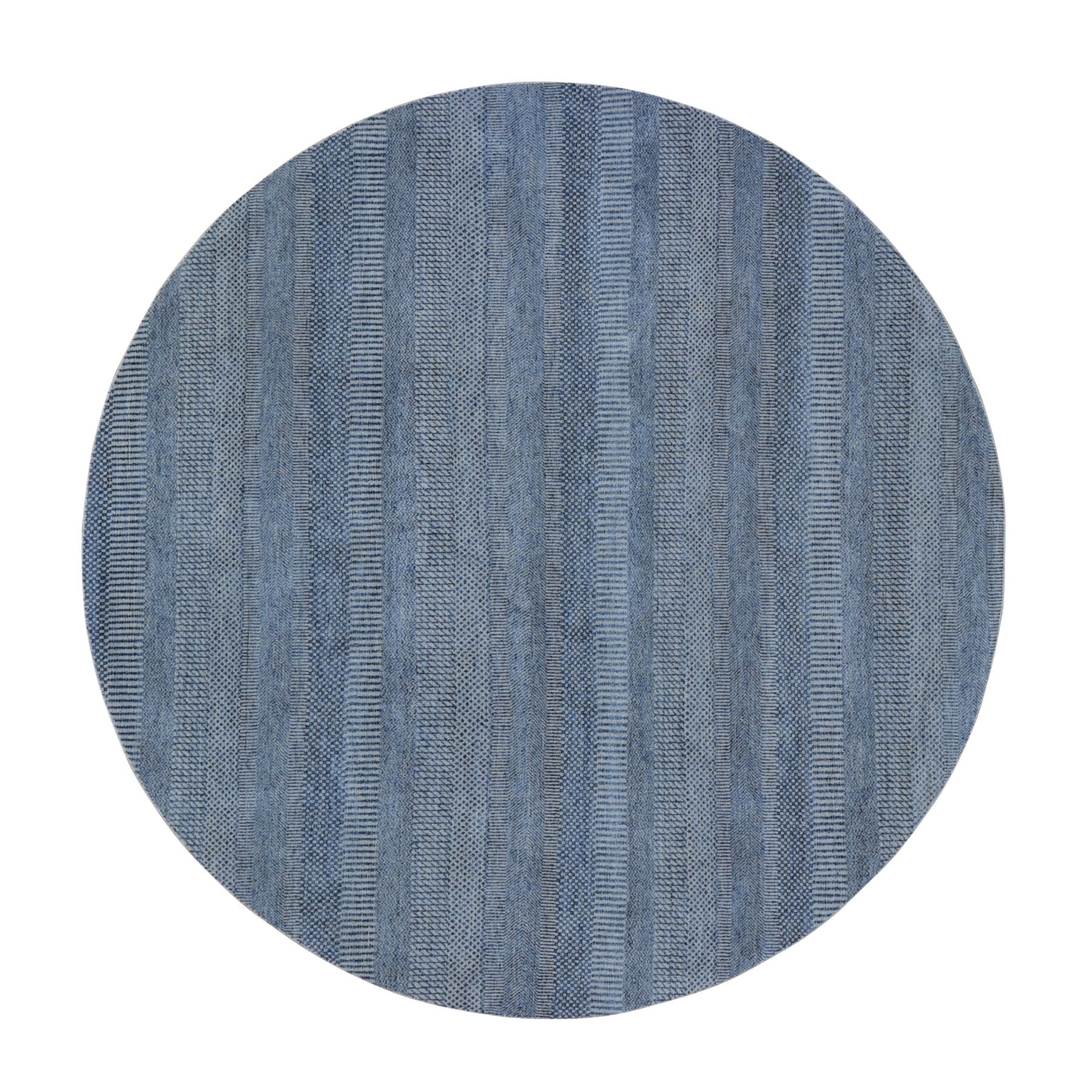 8'X8' Round Blue Grass Design Wool And Silk Hand Knotted Oriental Rug moad9e07