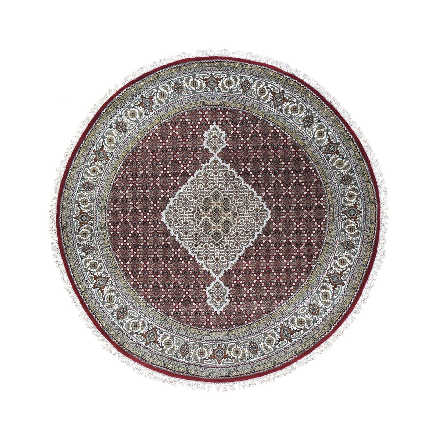 """5'1""""X5'1"""" Round Red Tabriz Mahi Wool And Silk Hand Knotted Oriental Rug moad9e08"""