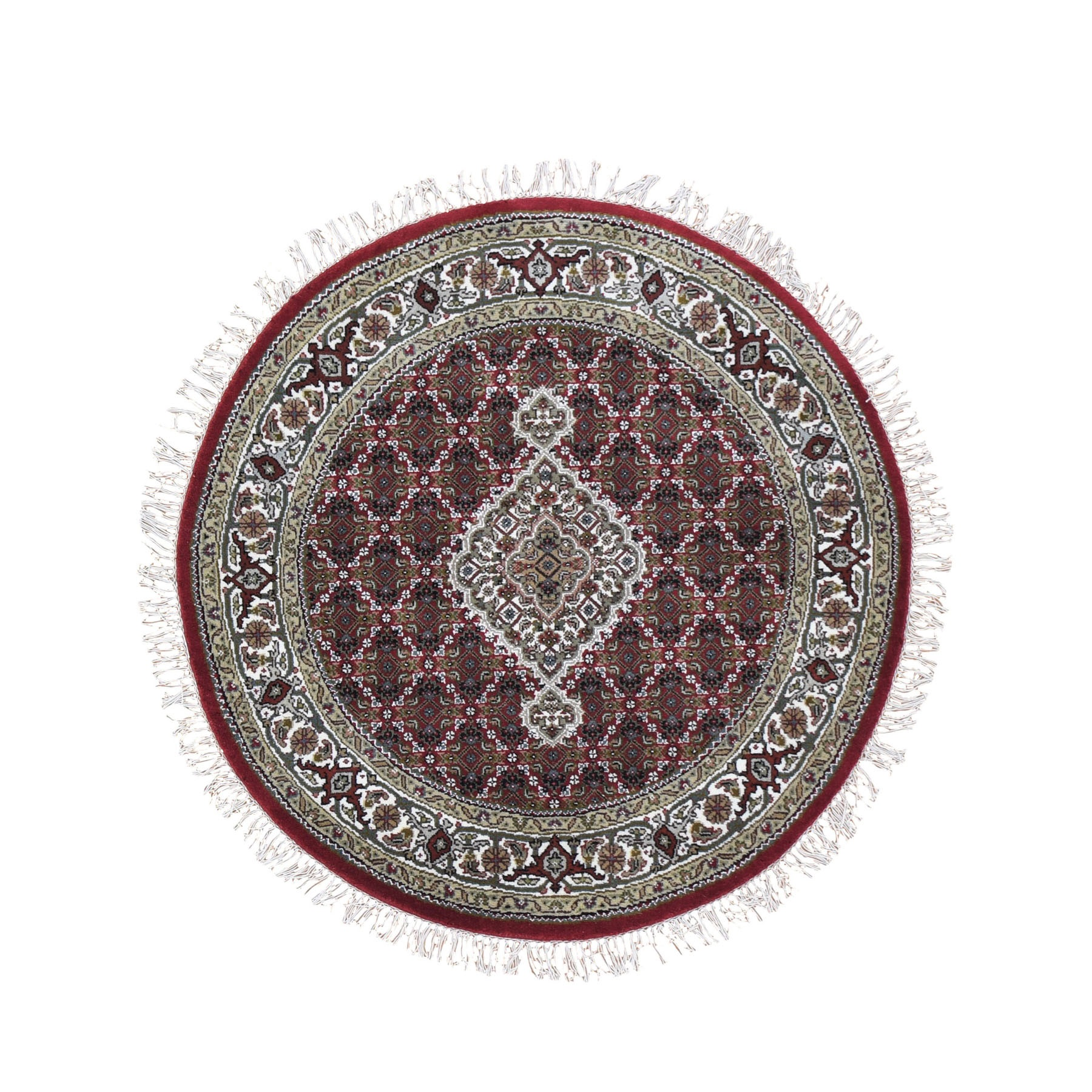 """4'1""""X4'1"""" Round Red Tabriz Mahi Wool And Silk Hand Knotted Oriental Rug moad9e09"""