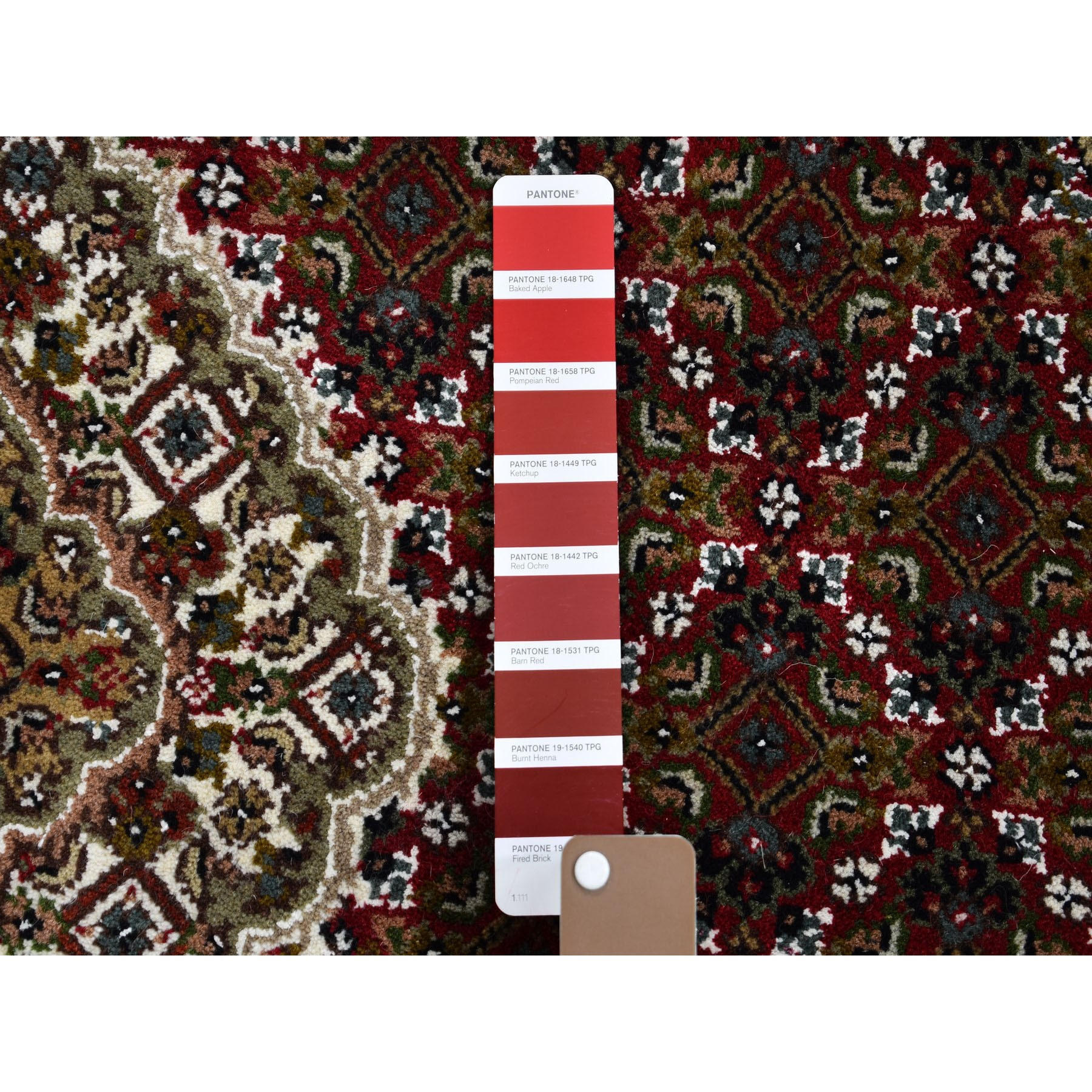 4-1 x4-1  Round Red Tabriz Mahi Wool and Silk Hand Knotted Oriental Rug