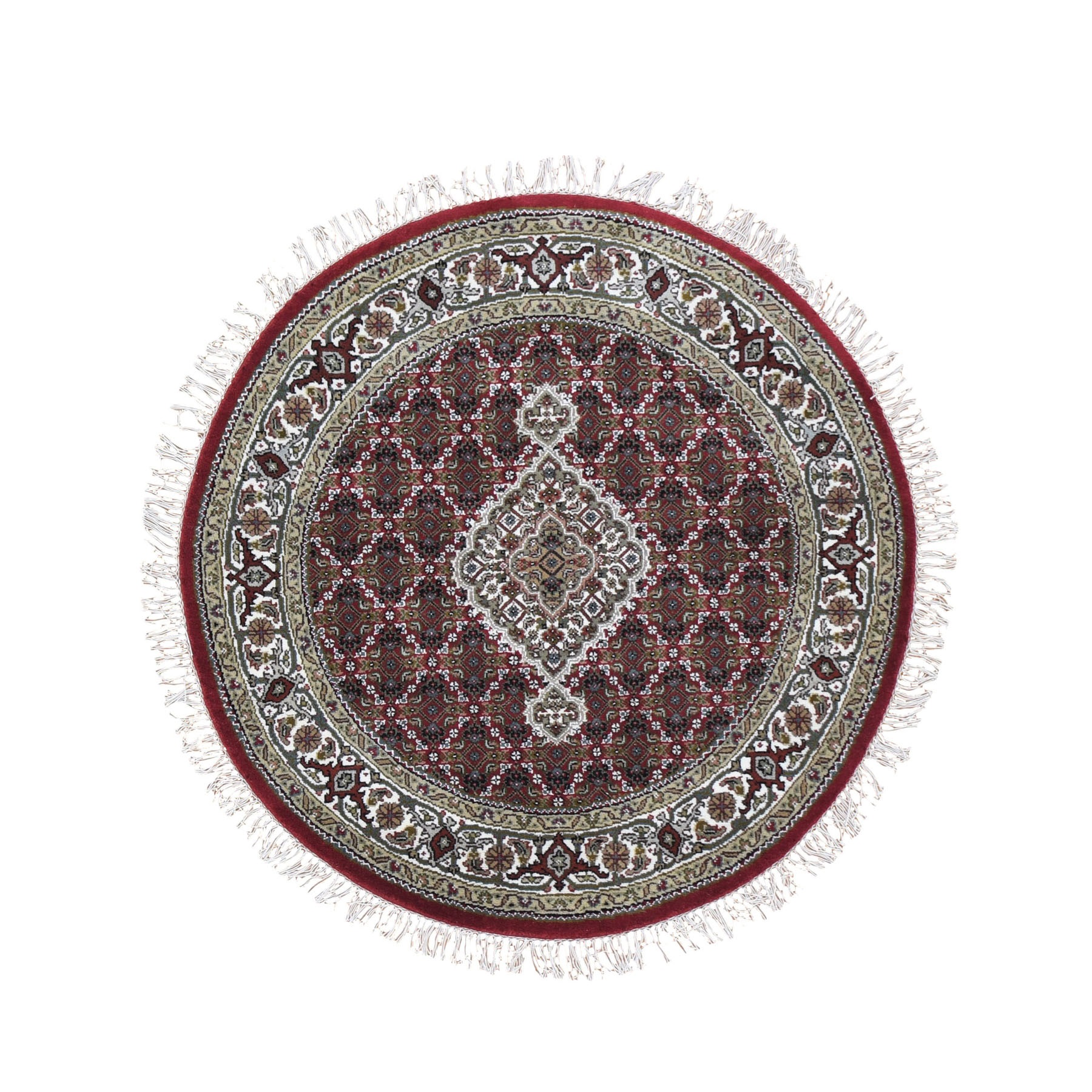 4'X4' Round Red Tabriz Mahi Wool And Silk Hand Knotted Oriental Rug moad9ea0
