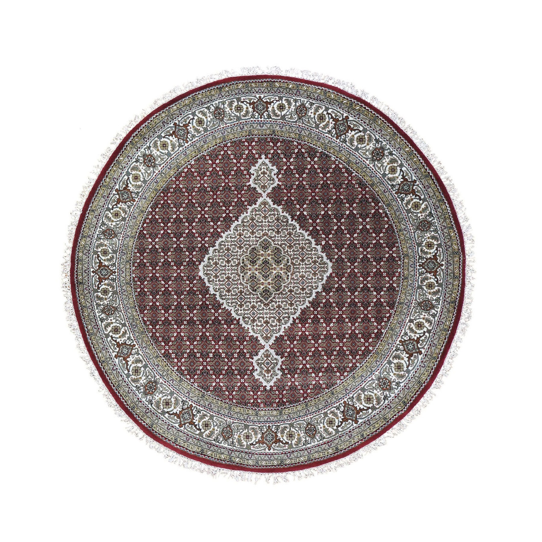 """5'1""""X5'1"""" Round Red Tabriz Mahi Wool And Silk Hand Knotted Oriental Rug moad9eaa"""