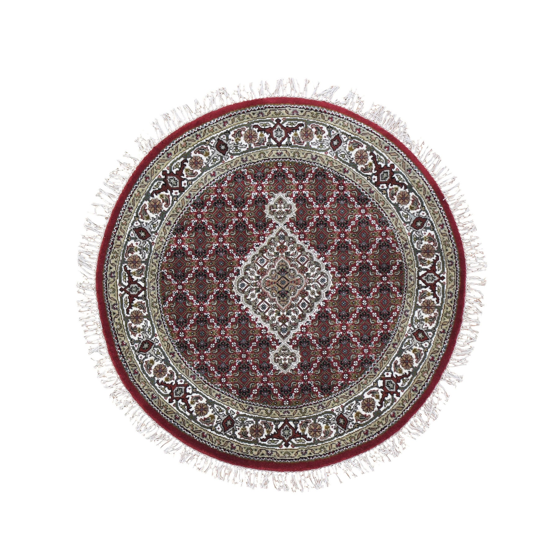 4'X4' Round Red Tabriz Mahi Wool And Silk Hand Knotted Oriental Rug moad9eab