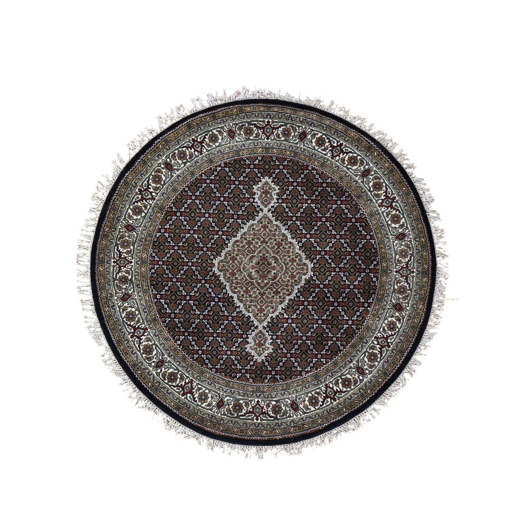 """4'1""""X4'1"""" Round Black Tabriz Mahi Wool And Silk Hand Knotted Oriental Rug moad9eac"""