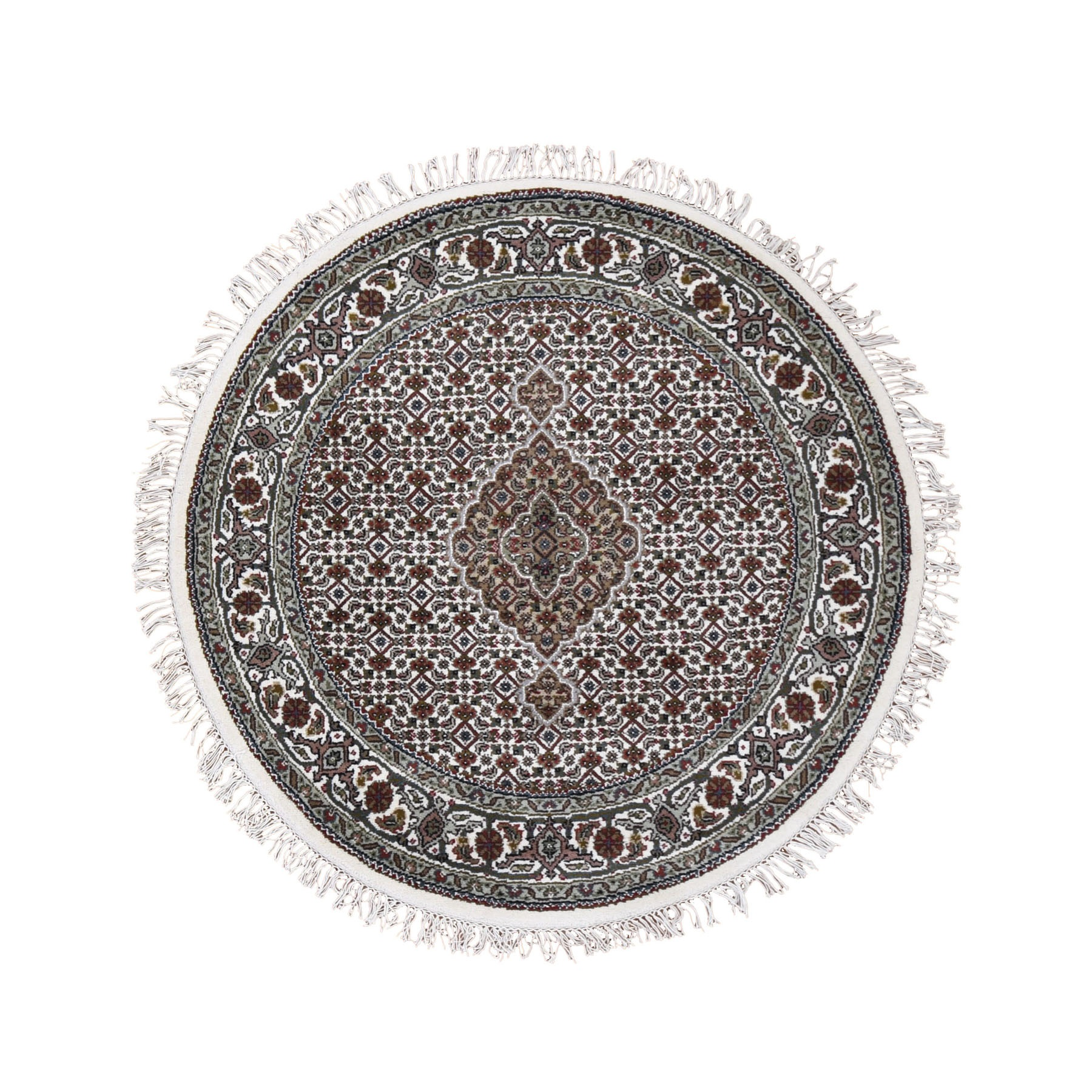 4'X4' Ivory Round Wool And Silk Tabriz Mahi Design Hand Knotted Oriental Rug moad9ea6
