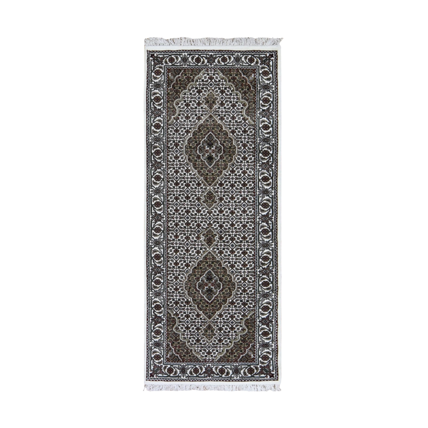 """2'8""""X6'8"""" Ivory Runner Wool And Silk Tabriz Mahi Design Hand Knotted Oriental Rug moad9ebb"""