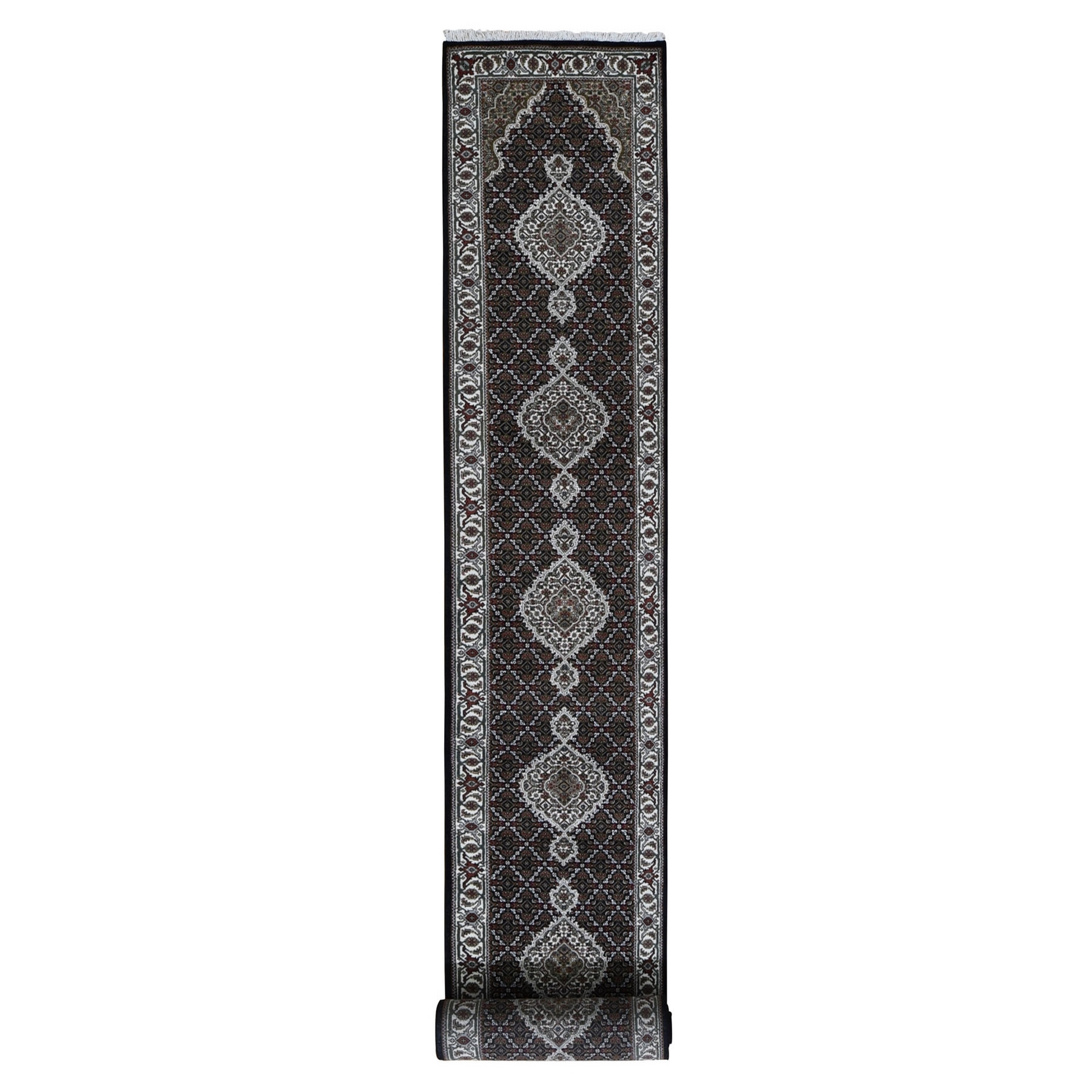 "2'8""X13'2""  Black Tabriz Mahi Wool And Silk Runner Hand Knotted Oriental Rug moad9ec6"
