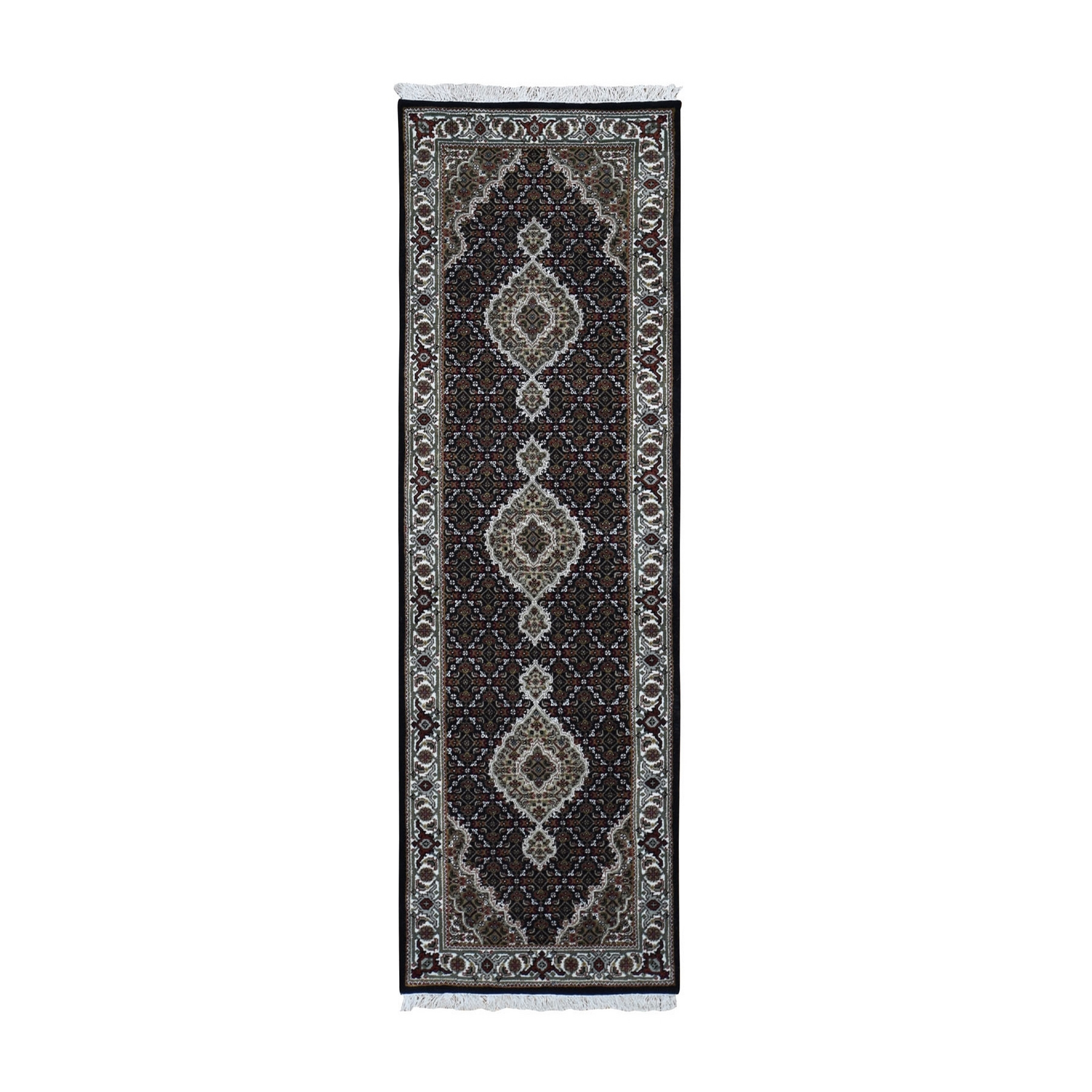 "2'7""X8'4"" Black Tabriz Mahi Wool And Silk Runner Hand Knotted Oriental Rug moad9ec8"