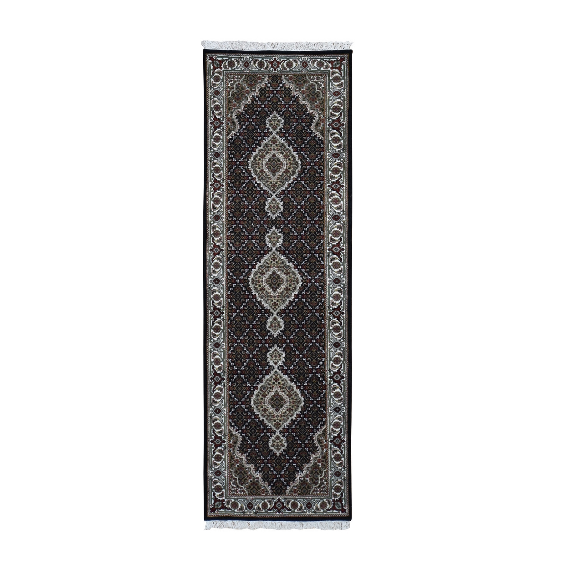 "2'7""X8'3"" Black Tabriz Mahi Wool And Silk Runner Hand Knotted Oriental Rug moad9ec9"