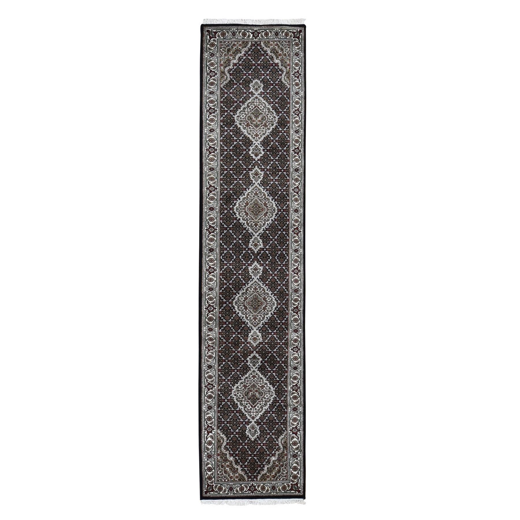 "2'7""x10' Black Tabriz Mahi Wool and Silk Runner Hand Knotted Oriental Rug 49551"