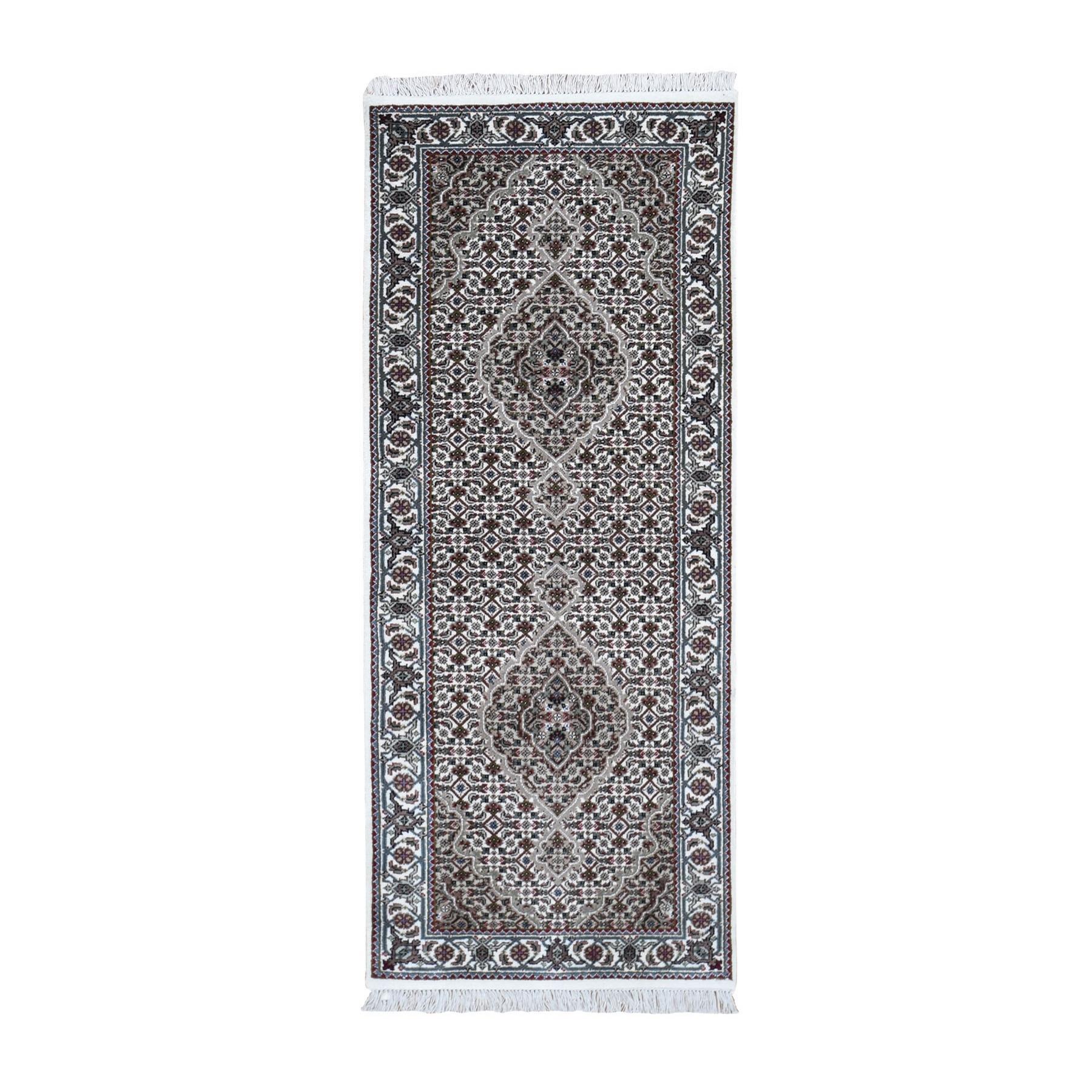 "2'7""x6'7"" Ivory Runner Wool And Silk Tabriz Mahi Design Hand Knotted Oriental Rug 49554"