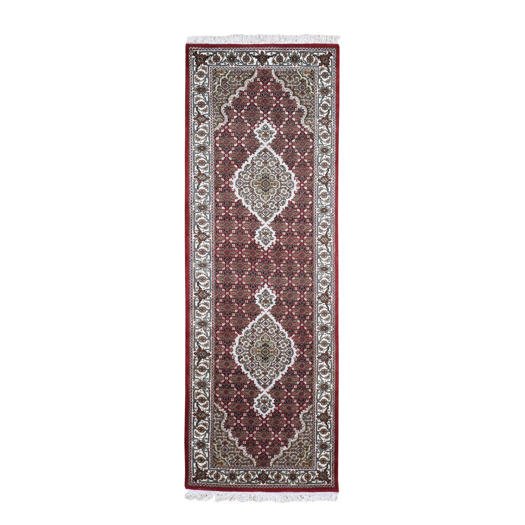 """2'9""""X8'1"""" Red Tabriz Mahi Wool And Silk Runner Hand Knotted Oriental Rug moad9ee7"""