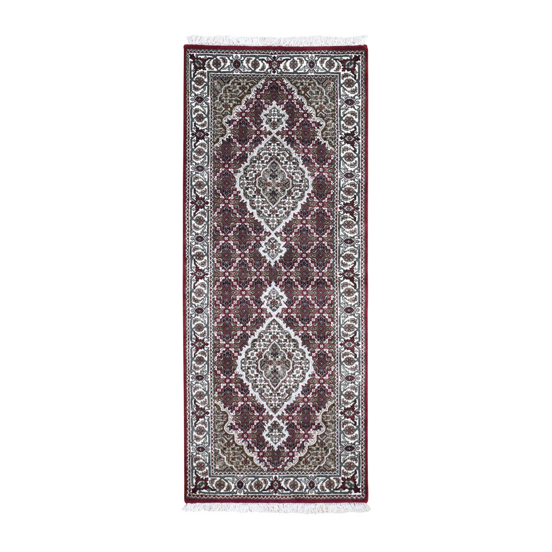 """2'8""""X6'10"""" Red Tabriz Mahi Wool And Silk Runner Hand Knotted Oriental Rug moad9ee8"""