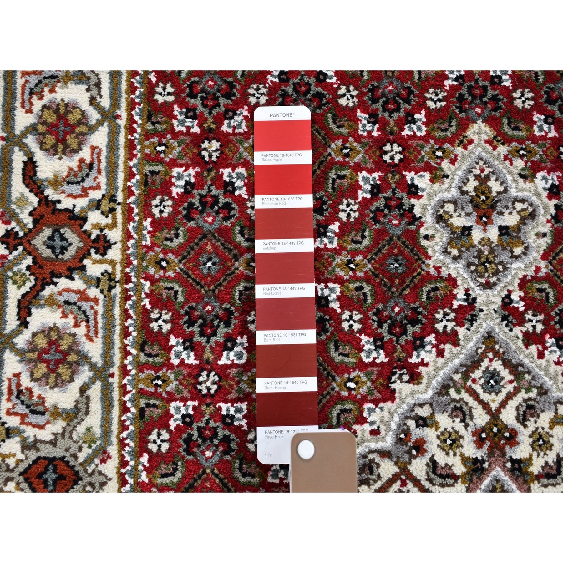 2-9 x7  Red Tabriz Mahi Wool And Silk Runner Hand Knotted Oriental Rug