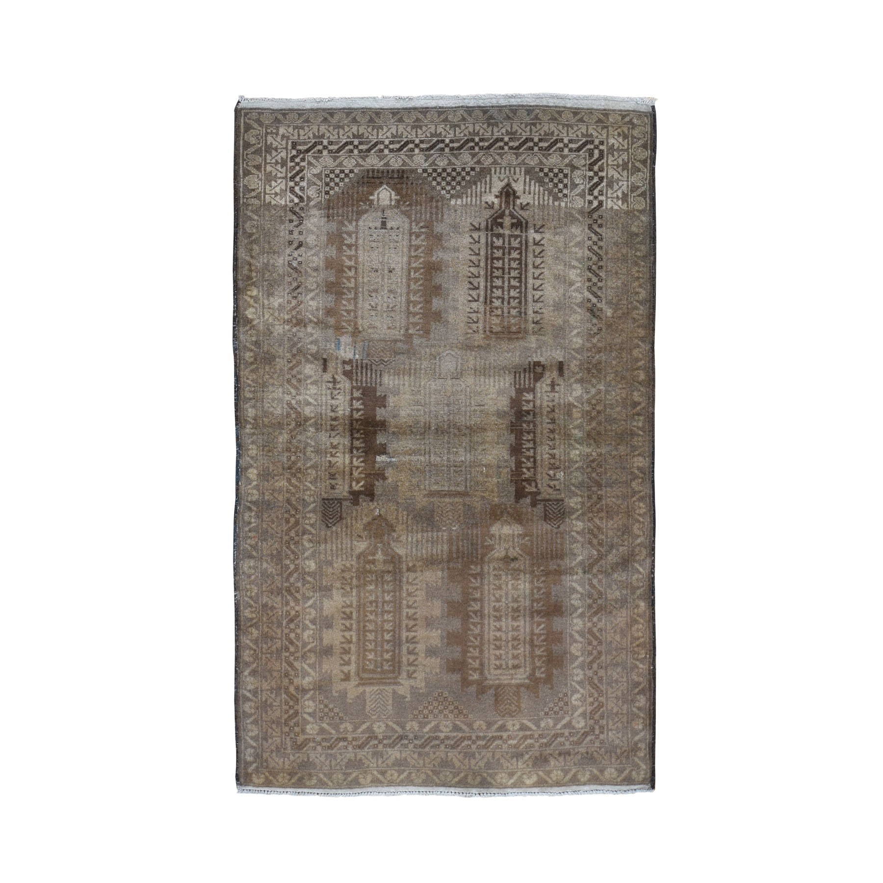"""3'10""""X6'6"""" Washed Out Afghan Baluch With Earth Tone Colors Pure Wool Hand Knotted Oriental Rug moad9e60"""