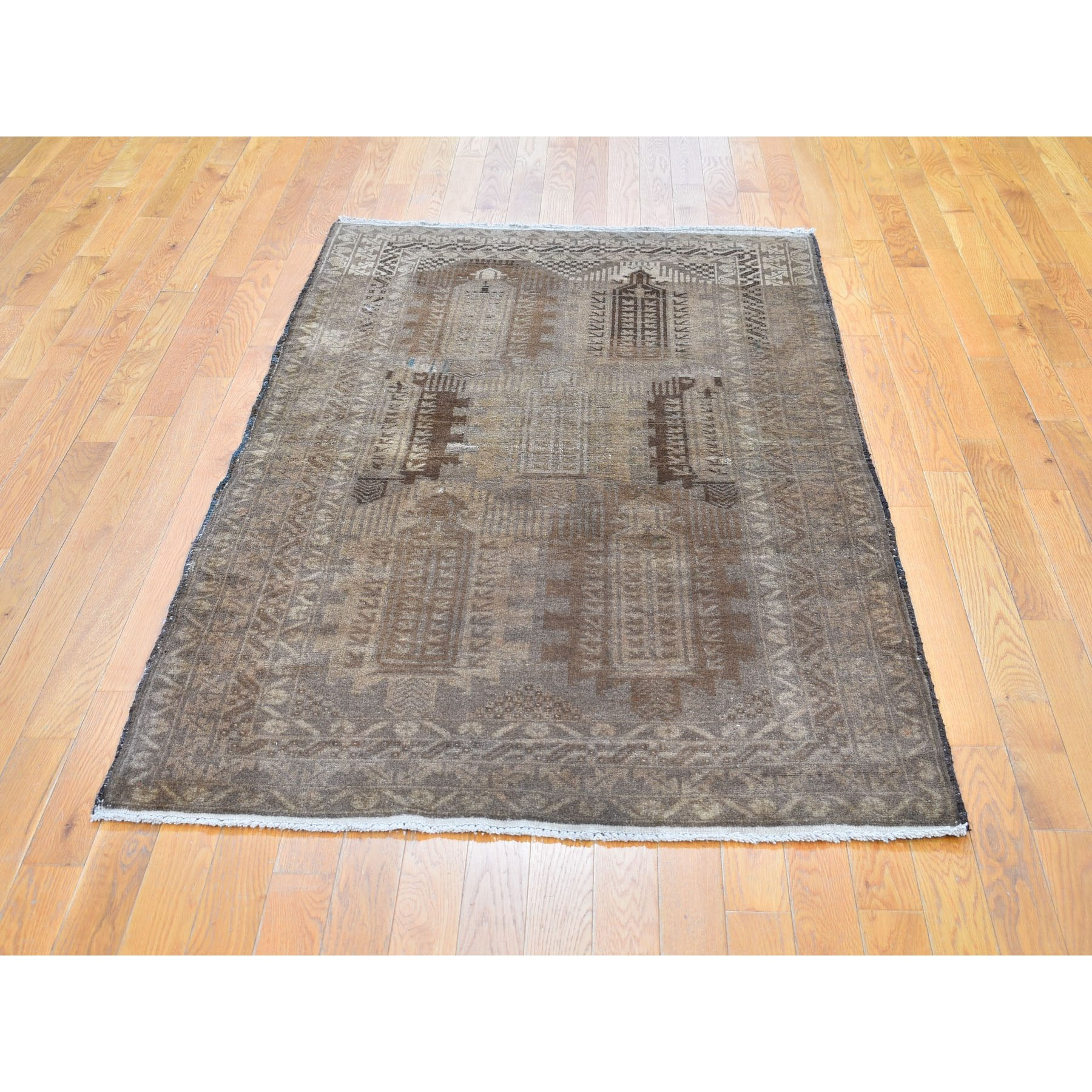 3-10 x6-6  Washed Out Afghan Baluch With Earth Tone Colors Pure Wool Hand Knotted Oriental Rug