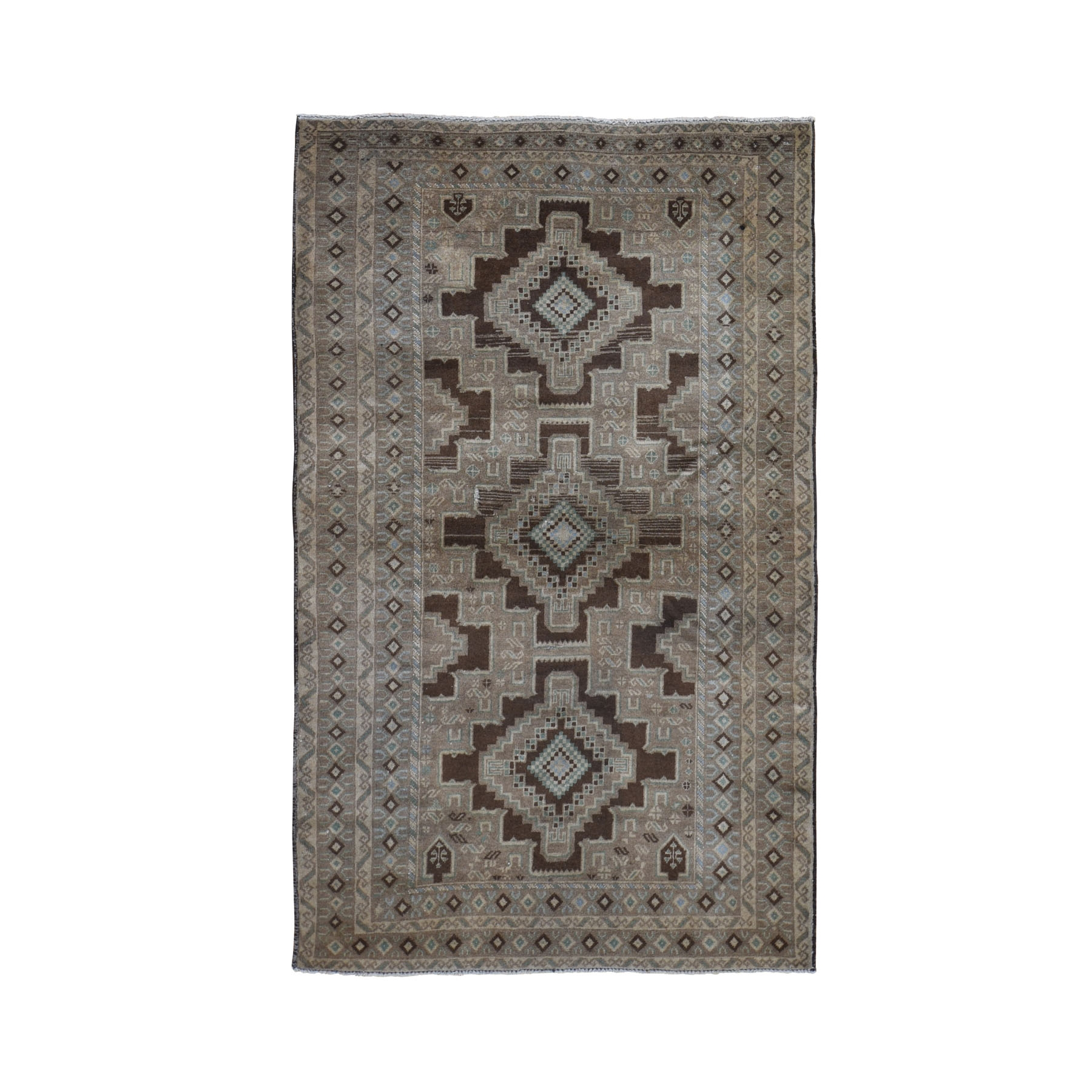 """3'9""""X6'7"""" Washed Out With Natural Colors Baluch Tribal Design Hand Knotted Oriental Rug moad9e6a"""