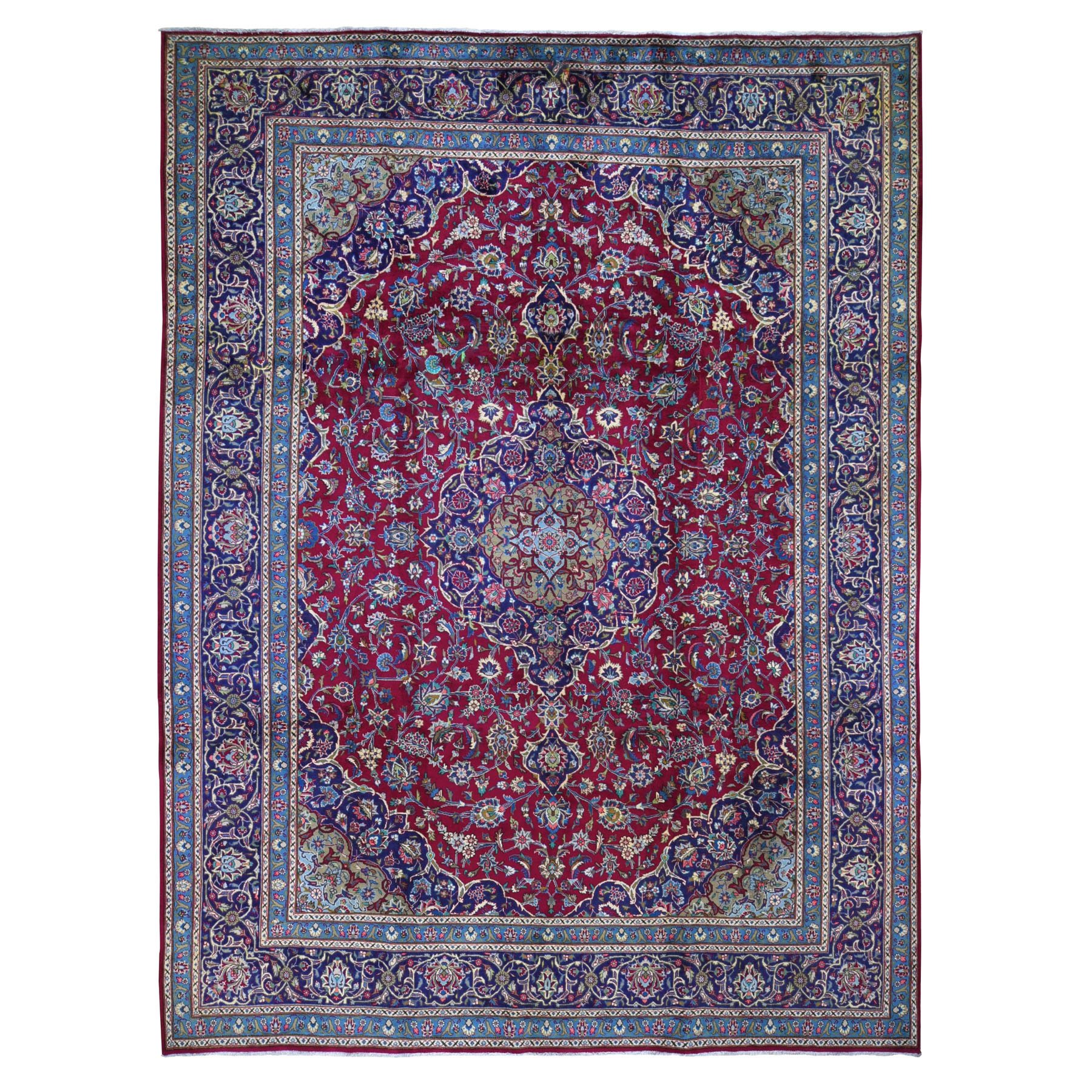 """9'9""""X12'8"""" Red Vintage Persian Mashad Clean Full Pile Hand Knotted Oriental Rug moad9e6c"""