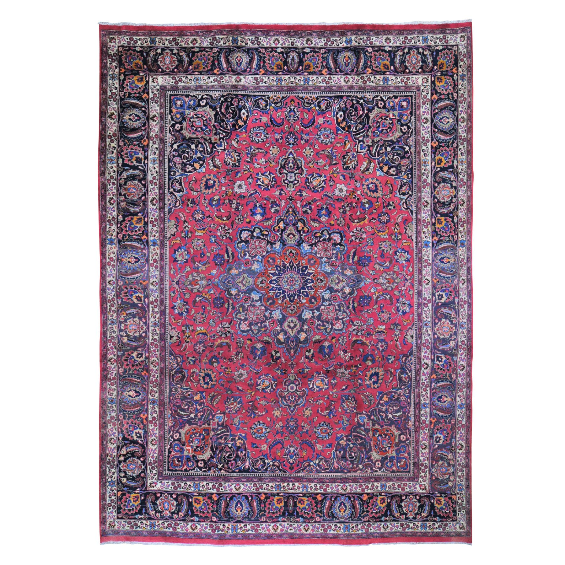 10'x13' Red Vintage Persian Mashad Clean Exc Cond Hand Knotted Oriental Rug 49565