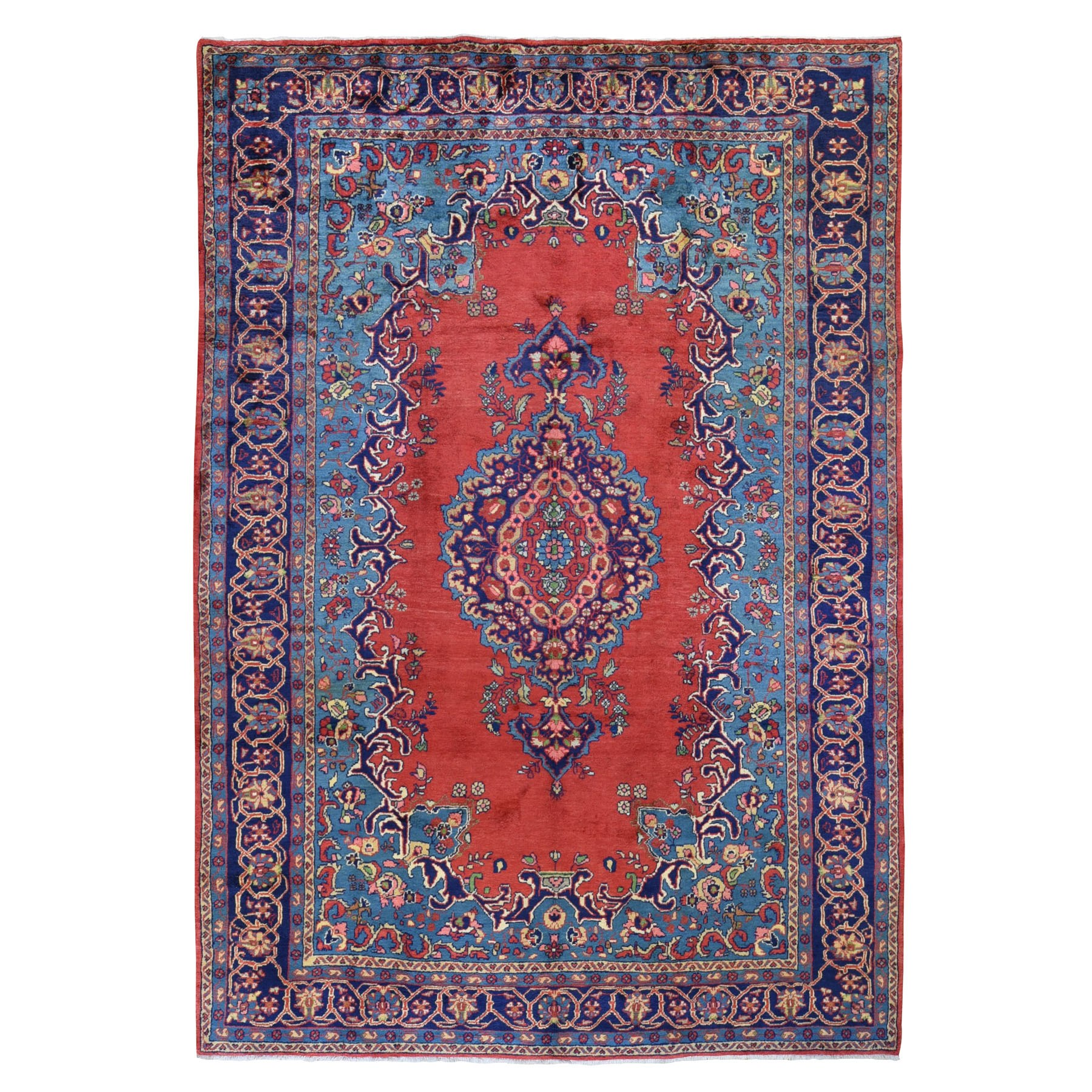 "8'6""X12' Red Vintage Persian Viss Full Pile Pure Wool Hand Knotted Oriental Rug moad9e67"