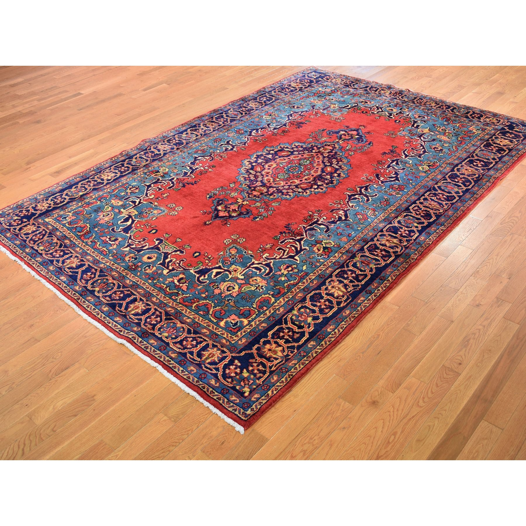 8-6 x12- Red Vintage Persian Viss Full Pile Pure Wool Hand Knotted Oriental Rug