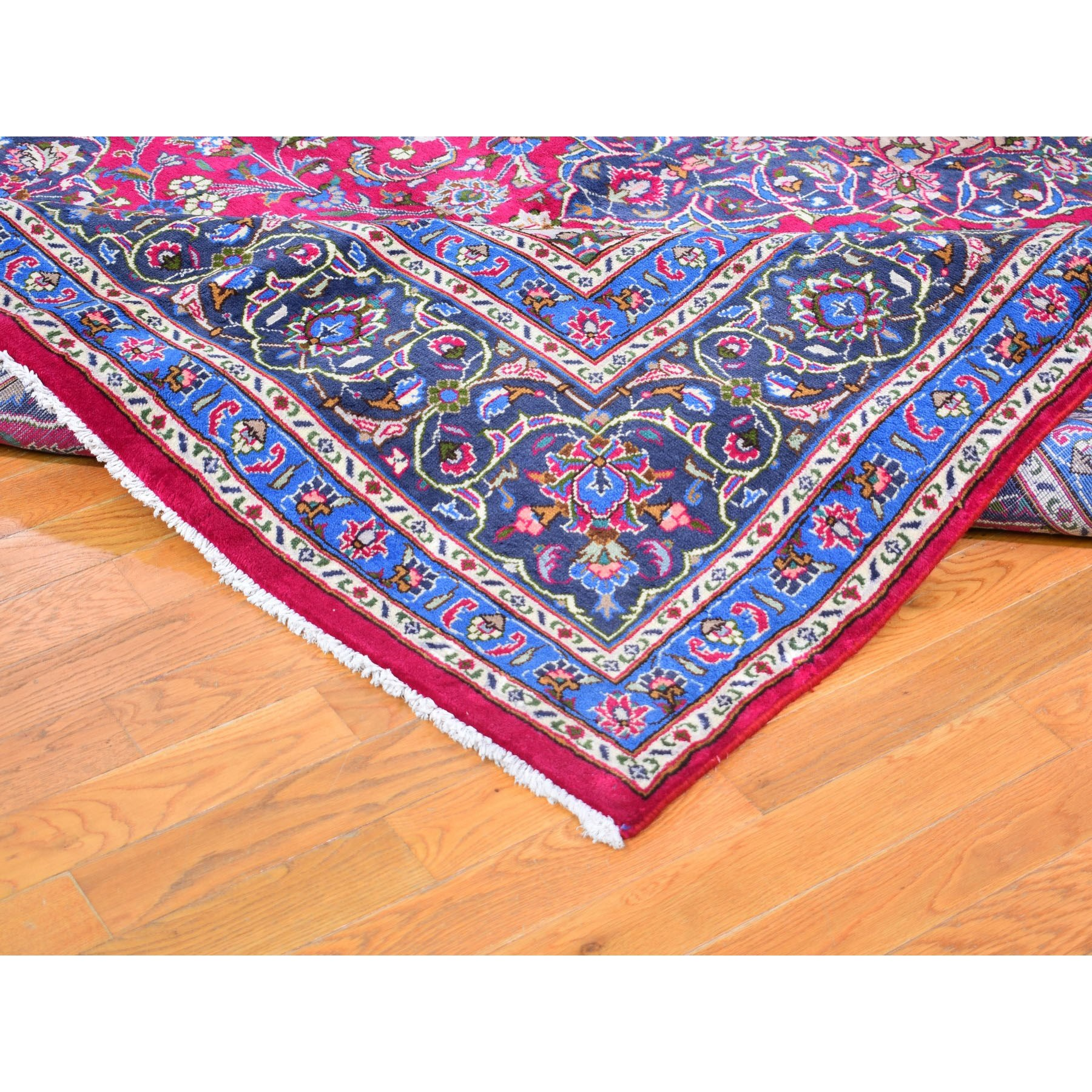 """8'x11'7"""" Red Vintage Persian Mashad Clean Exc Cond Hand Knotted Oriental Rug"""