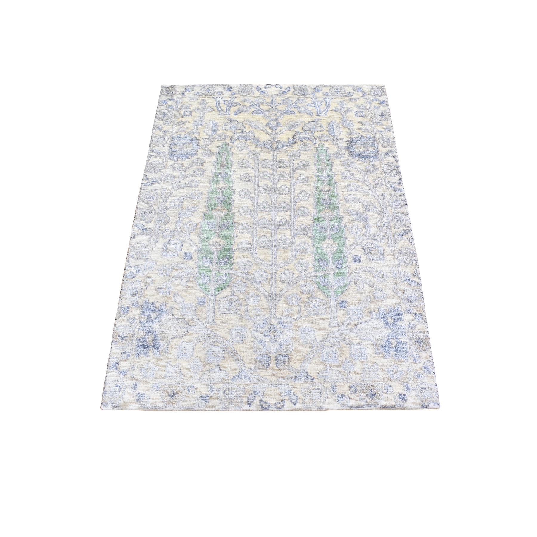 """2'1""""X3'1"""" Willow And Cypress Tree Design Wool And Silk Hand Knotted Oriental Rug moad9e7c"""