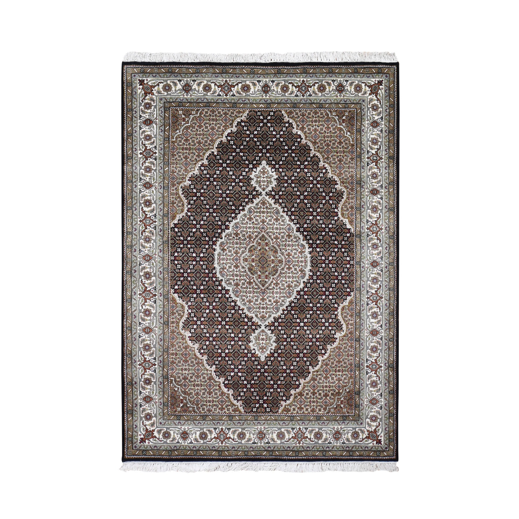"""4'7""""X6'9"""" Black Tabriz Mahi Wool And Silk Hand Knotted Oriental Rug moad9e7d"""