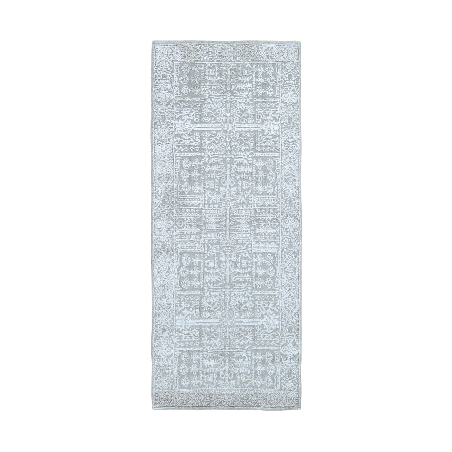 "2'5""X6'1"" Gray Fine Jacquard Hand Loomed Modern Wool And Art Silk Runner Oriental Rug moad9e7e"