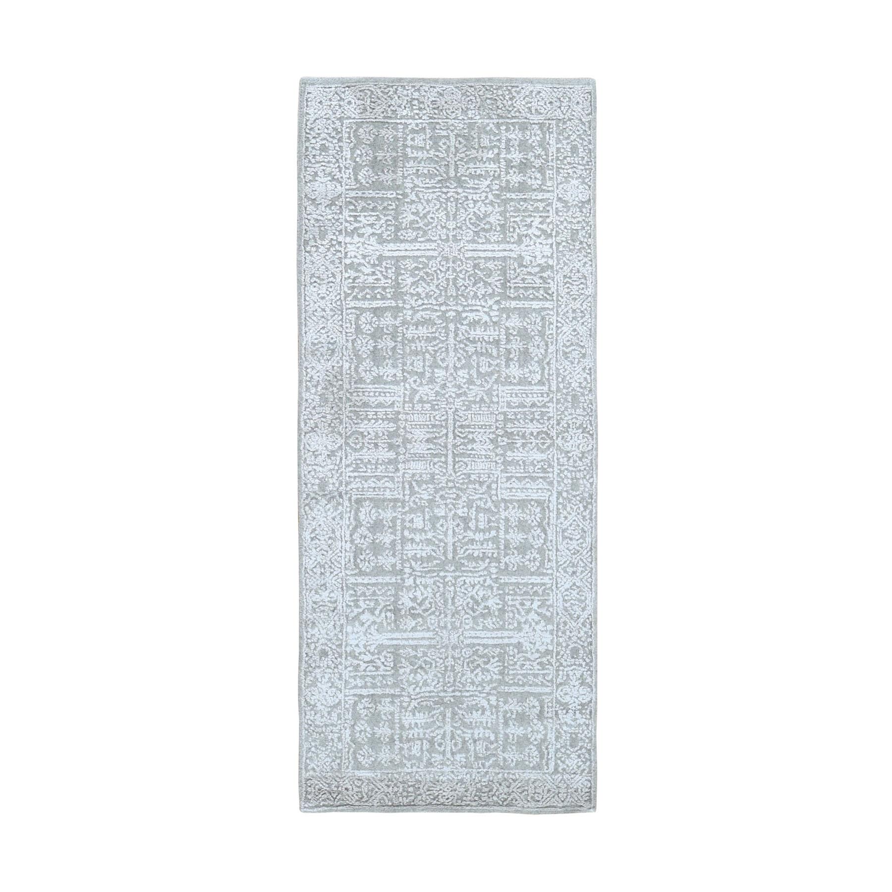 "2'5""X6'1""  Gray Fine Jacquard Hand Loomed Modern Wool And Art Silk Runner Oriental Rug moad9e76"