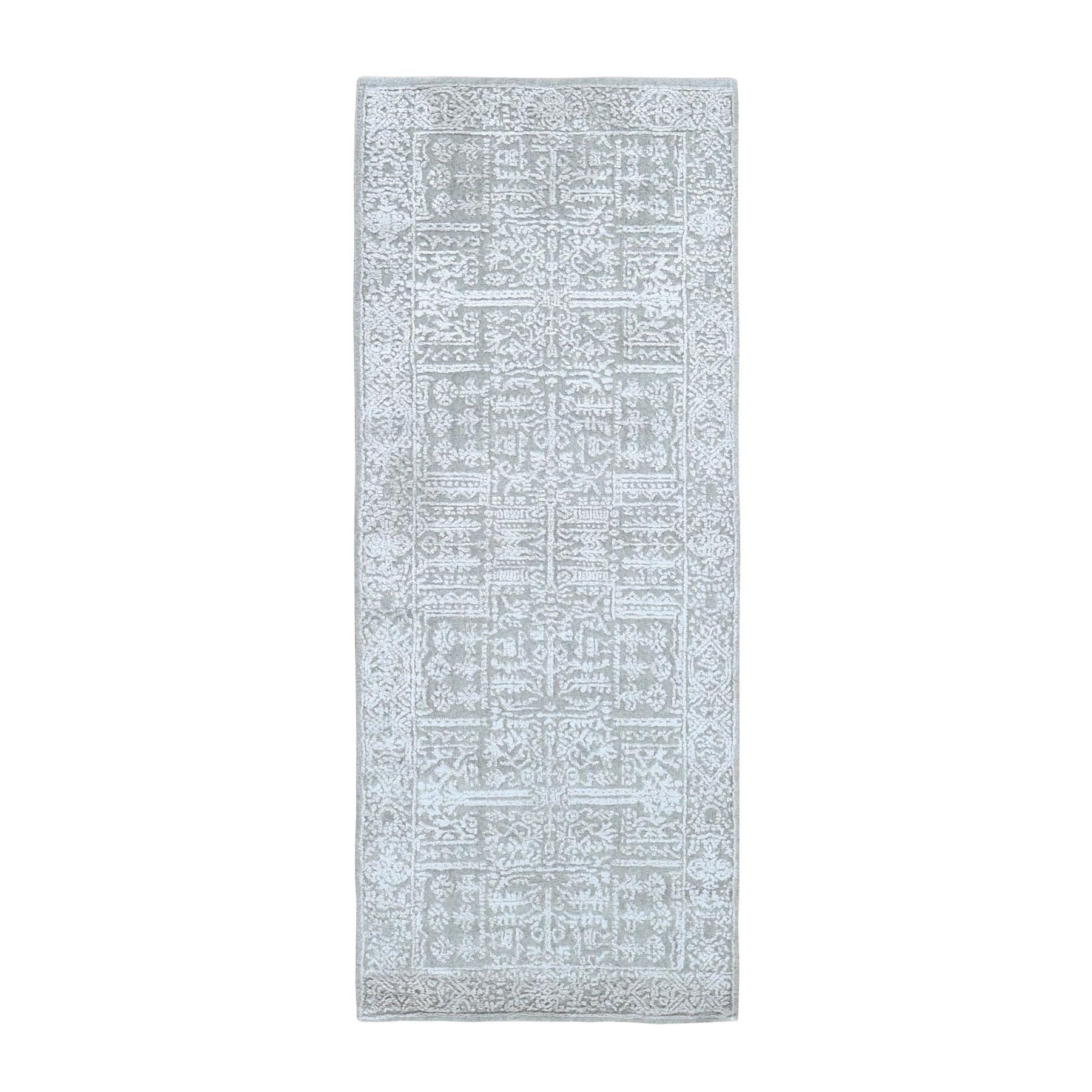 "2'5""X8' Gray Fine Jacquard Hand Loomed Modern Wool And Art Silk Runner Oriental Rug moad9e77"