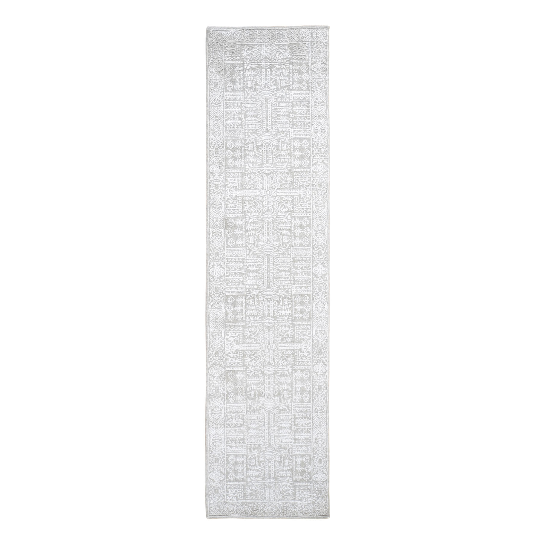 "2'5""X10'1"" Gray Fine Jacquard Hand Loomed Modern Wool And Art Silk Runner Oriental Rug moad9e78"