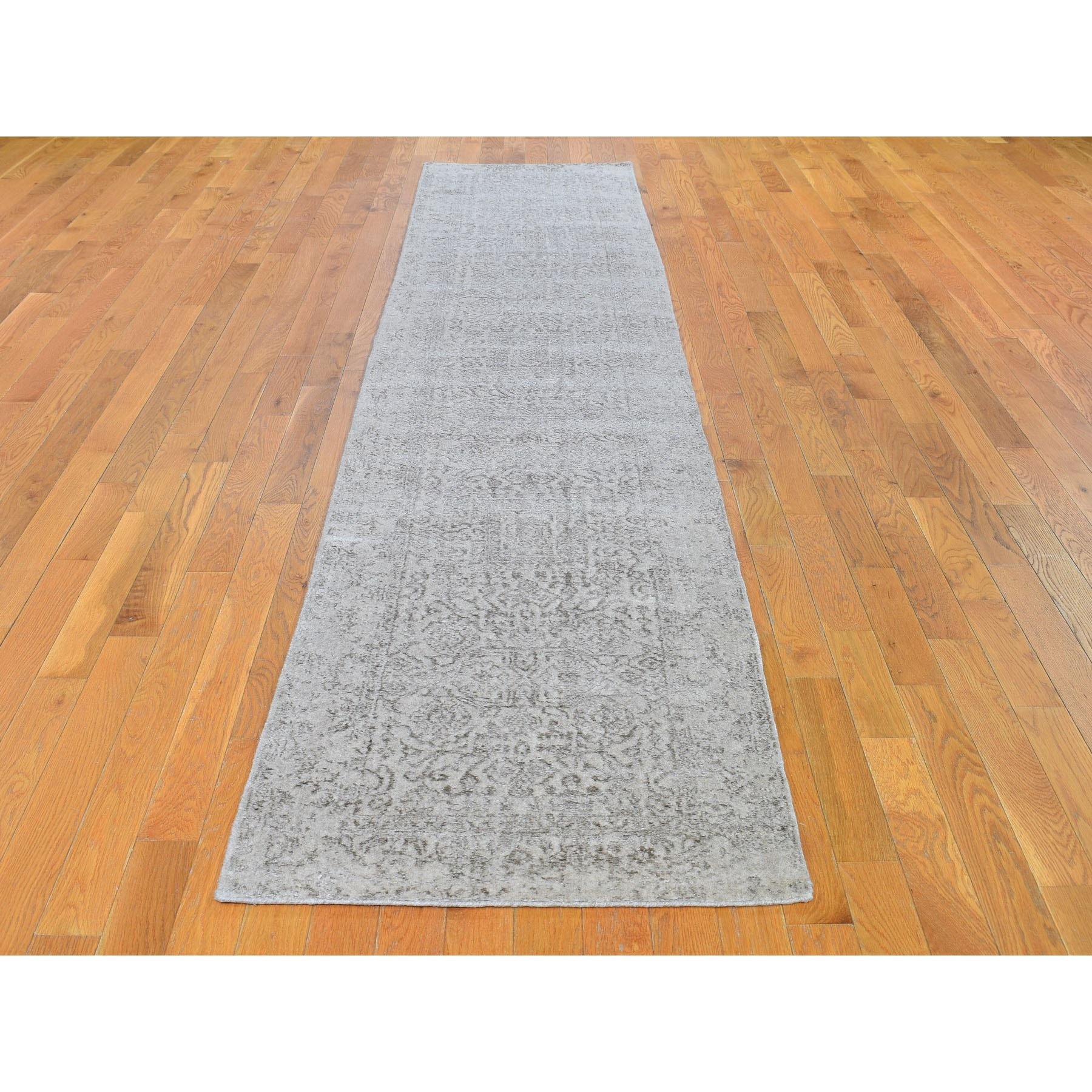 2-5 x12- Gray Fine jacquard Hand Loomed Modern Wool And Art Silk Runner Oriental Rug
