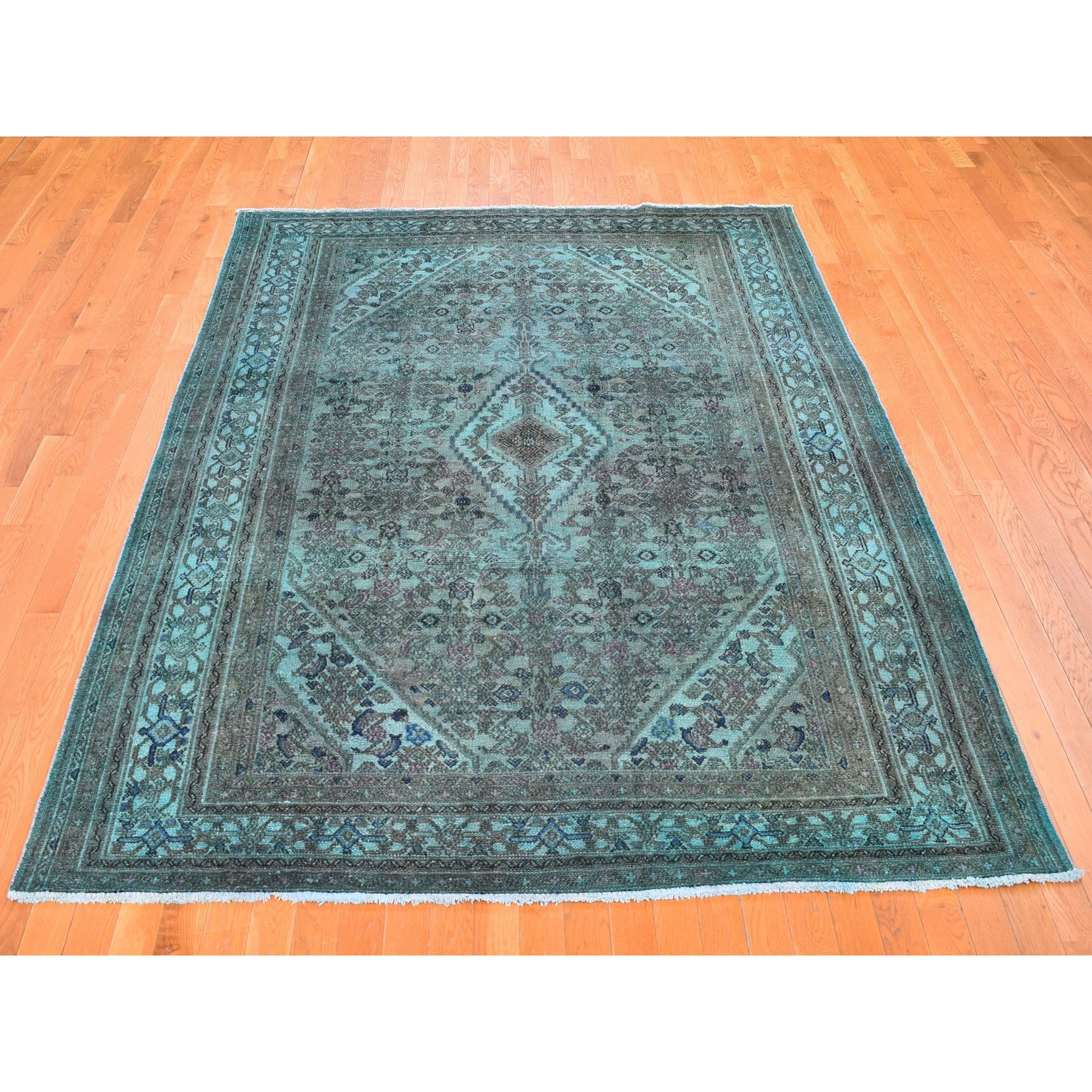 6-10 x9-9   Green Overdyed Bibikabad Hand Knotted Pure Wool Oriental Rug