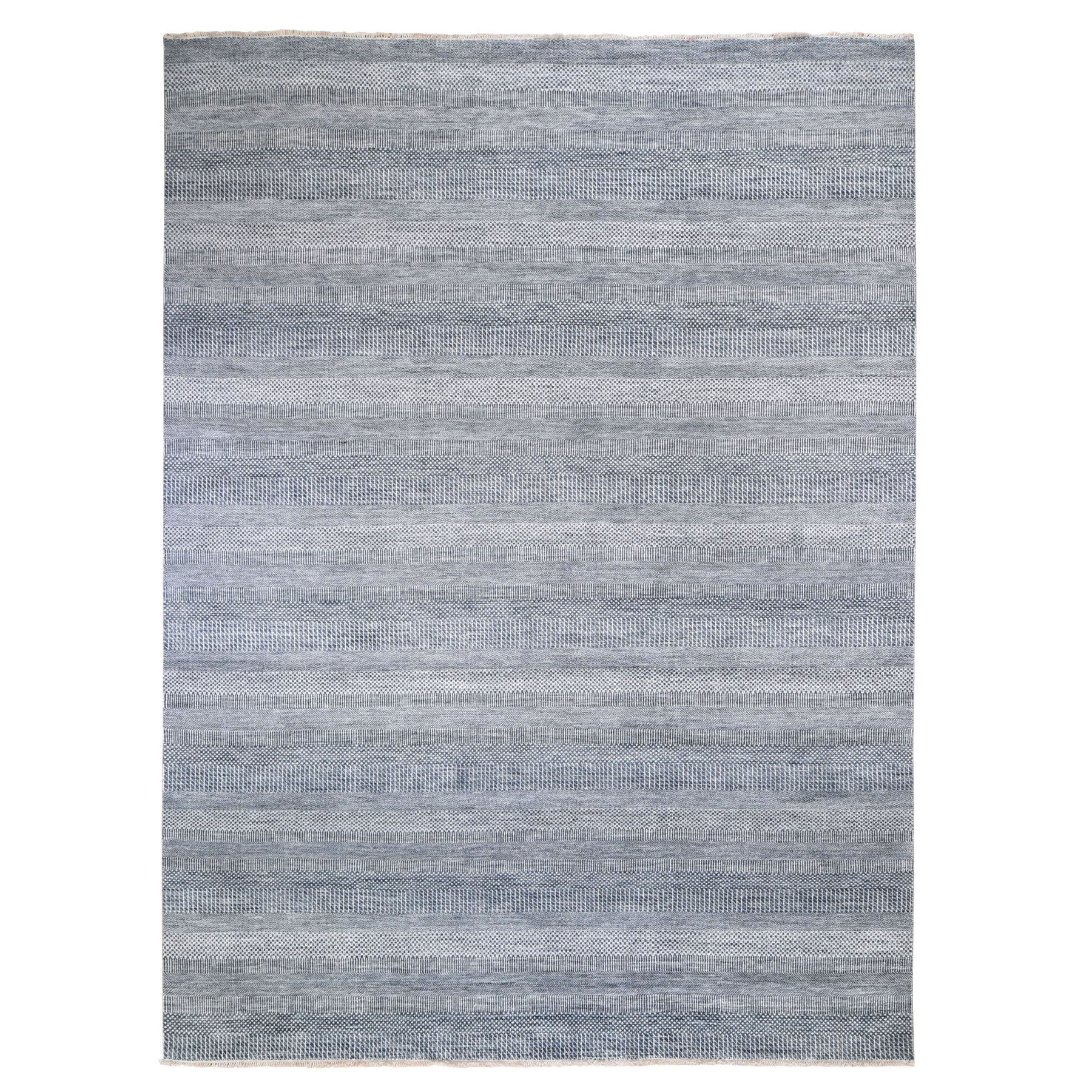 9'X12' Blue Grass Design Wool And Silk Hand Knotted Oriental Rug moad9e88