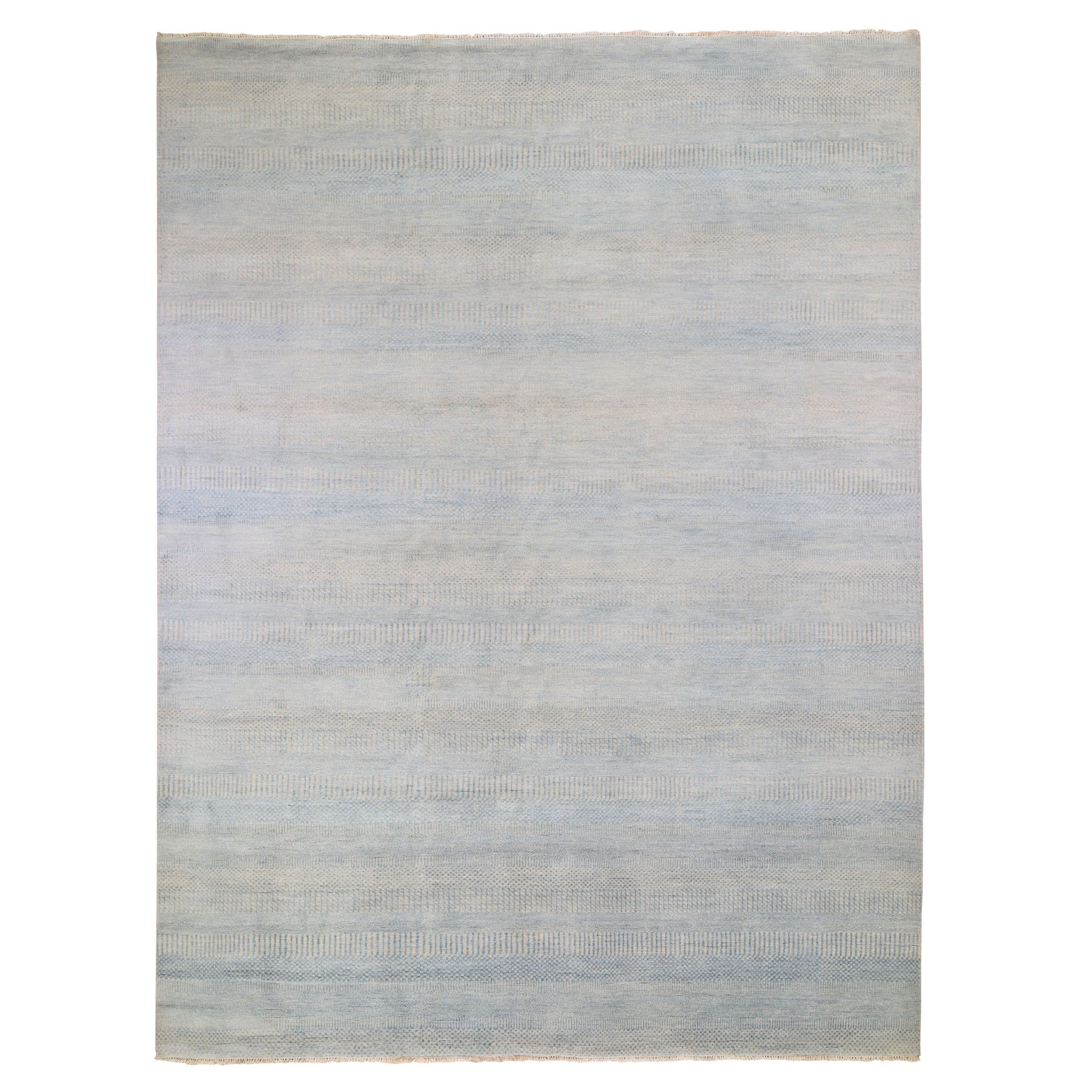 """9'X12'1"""" Gray Grass Design Wool And Silk Hand Knotted Oriental Rug moad9e96"""