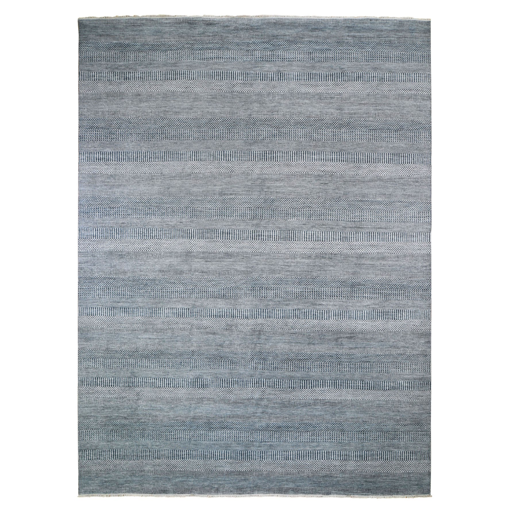 9-x12- Blue Grass Design Wool And Silk Hand Knotted Oriental Rug
