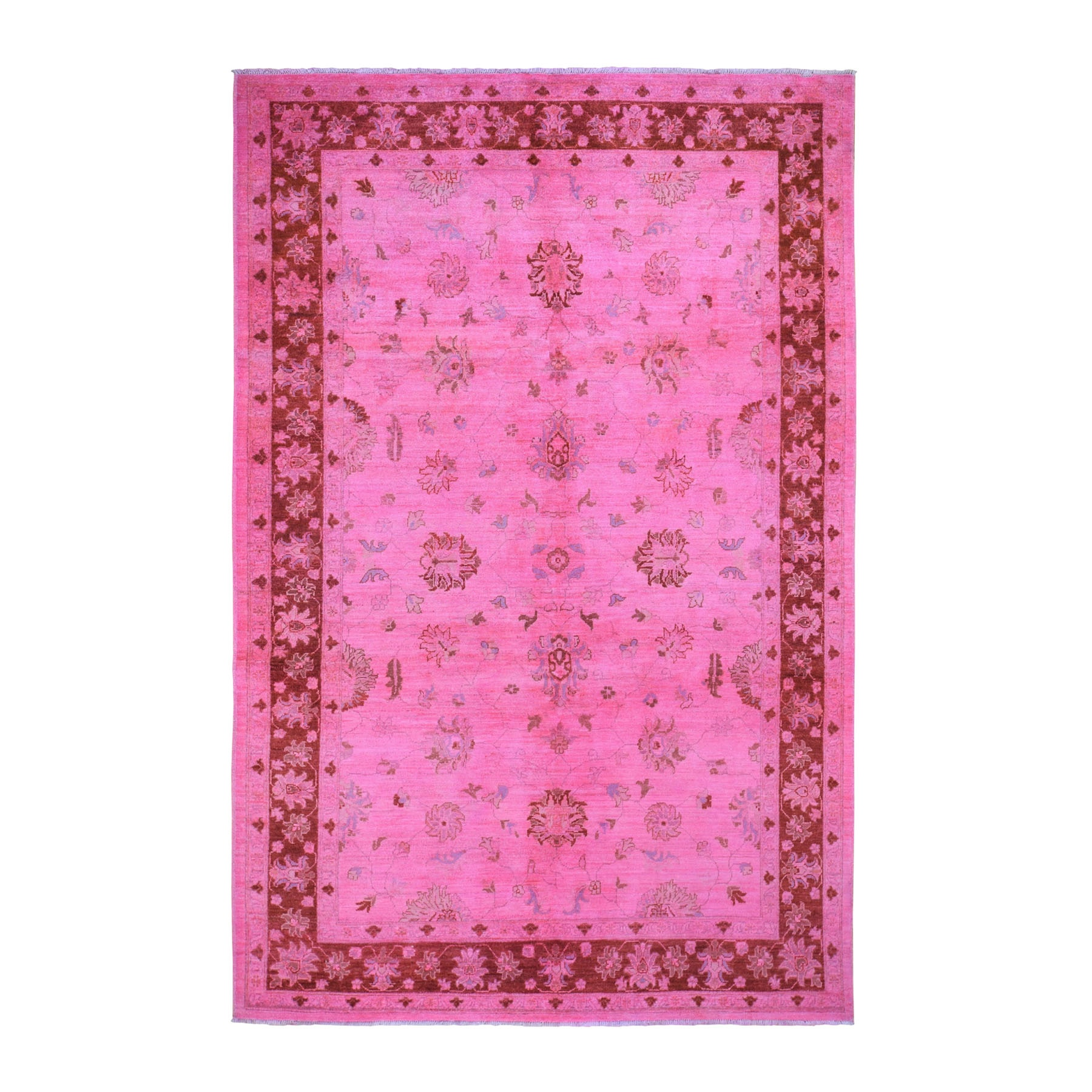 """6'X9'2"""" Pink Overdyed Peshawar Pure Wool Hand Knotted Oriental Rug moad9e99"""