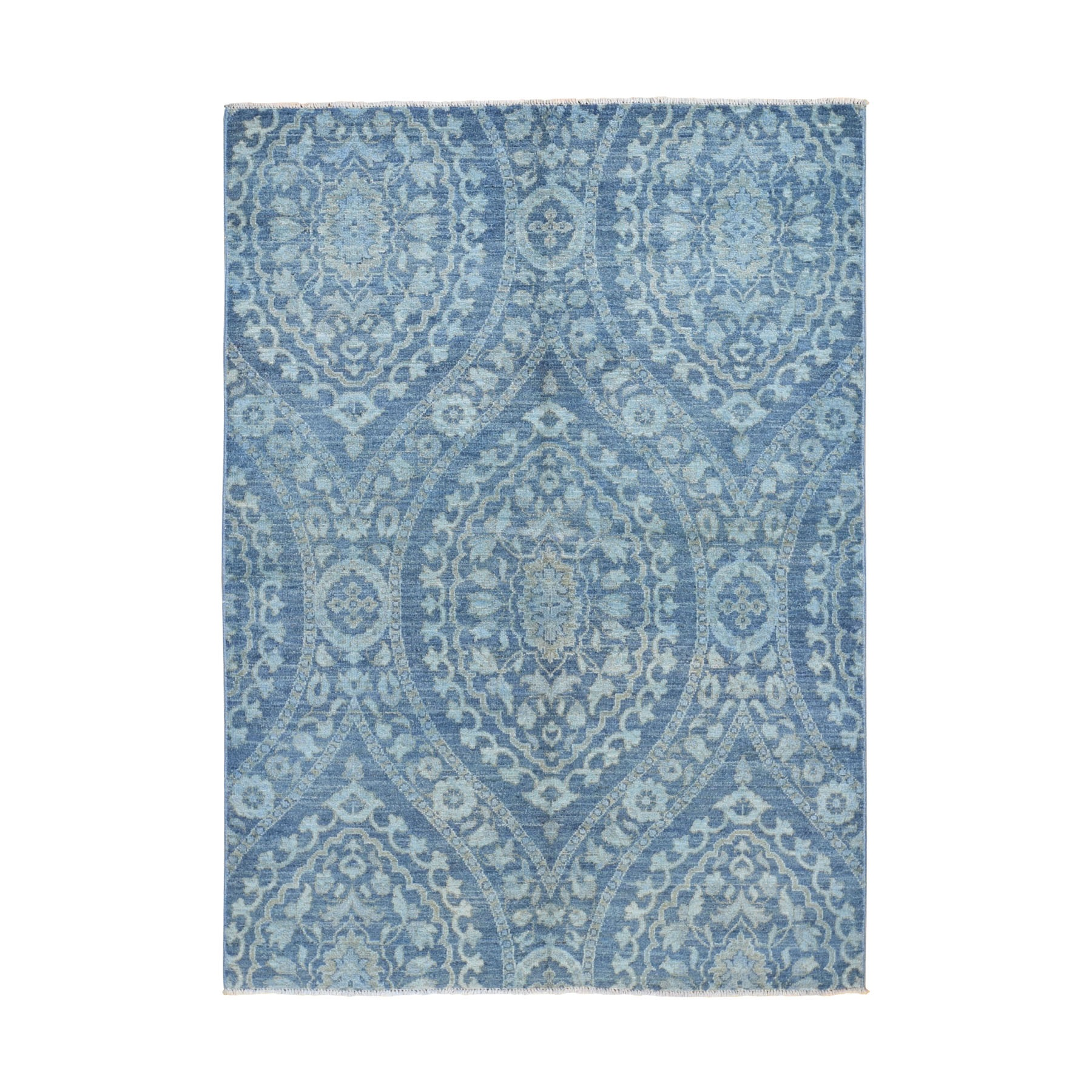 """5'X7'2"""" Blue Overdyed Peshawar Pure Wool Hand Knotted Oriental Rug moad9600"""