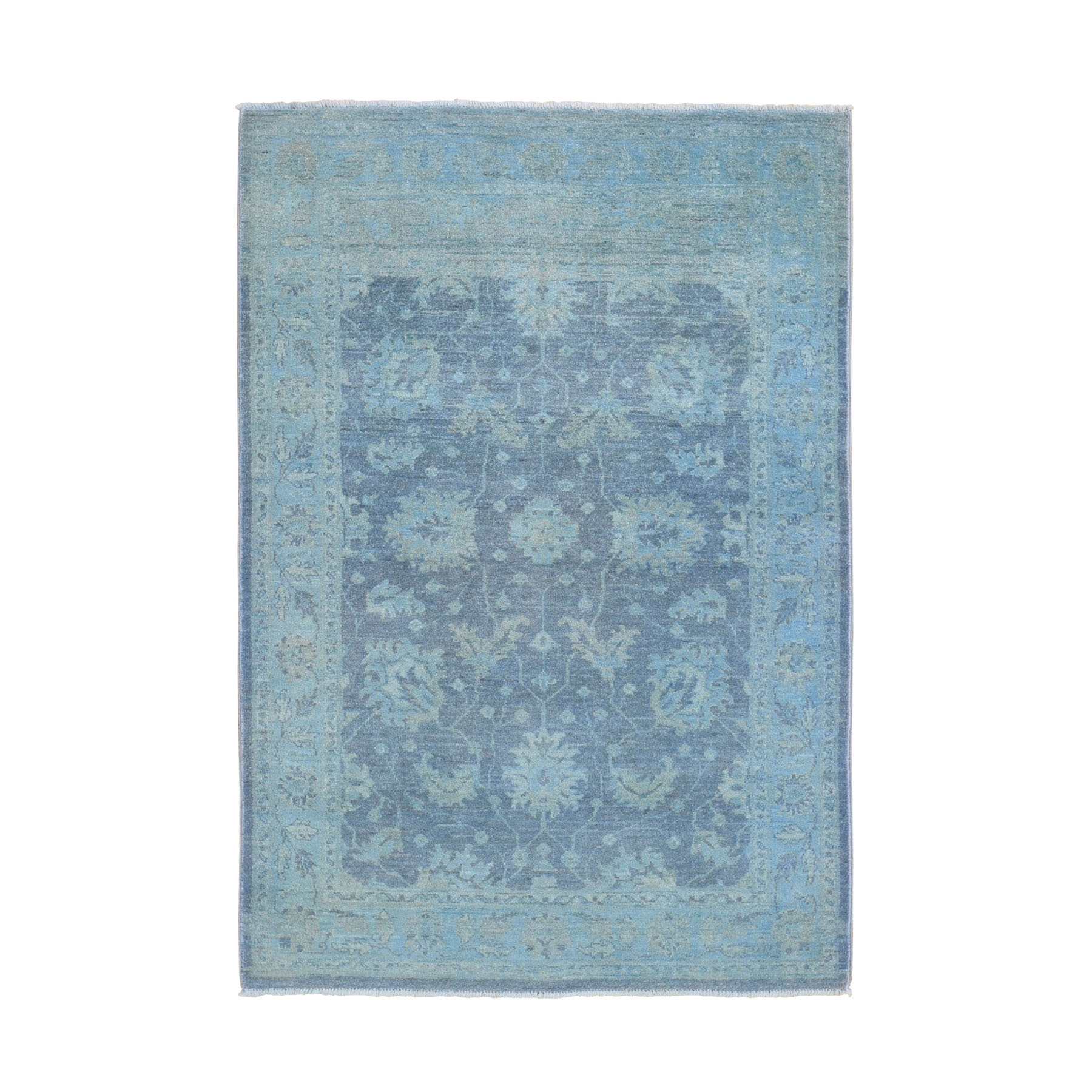 4-1 x6-3  Blue Overdyed Peshawar Pure Wool Hand Knotted Oriental Rug